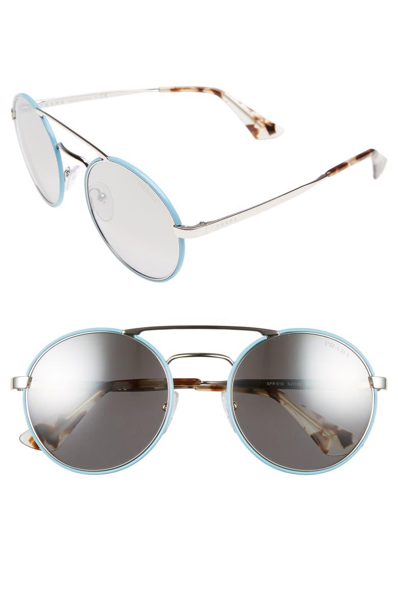 fce54b6539 Prada 51mm Mirrored Round Sunglasses