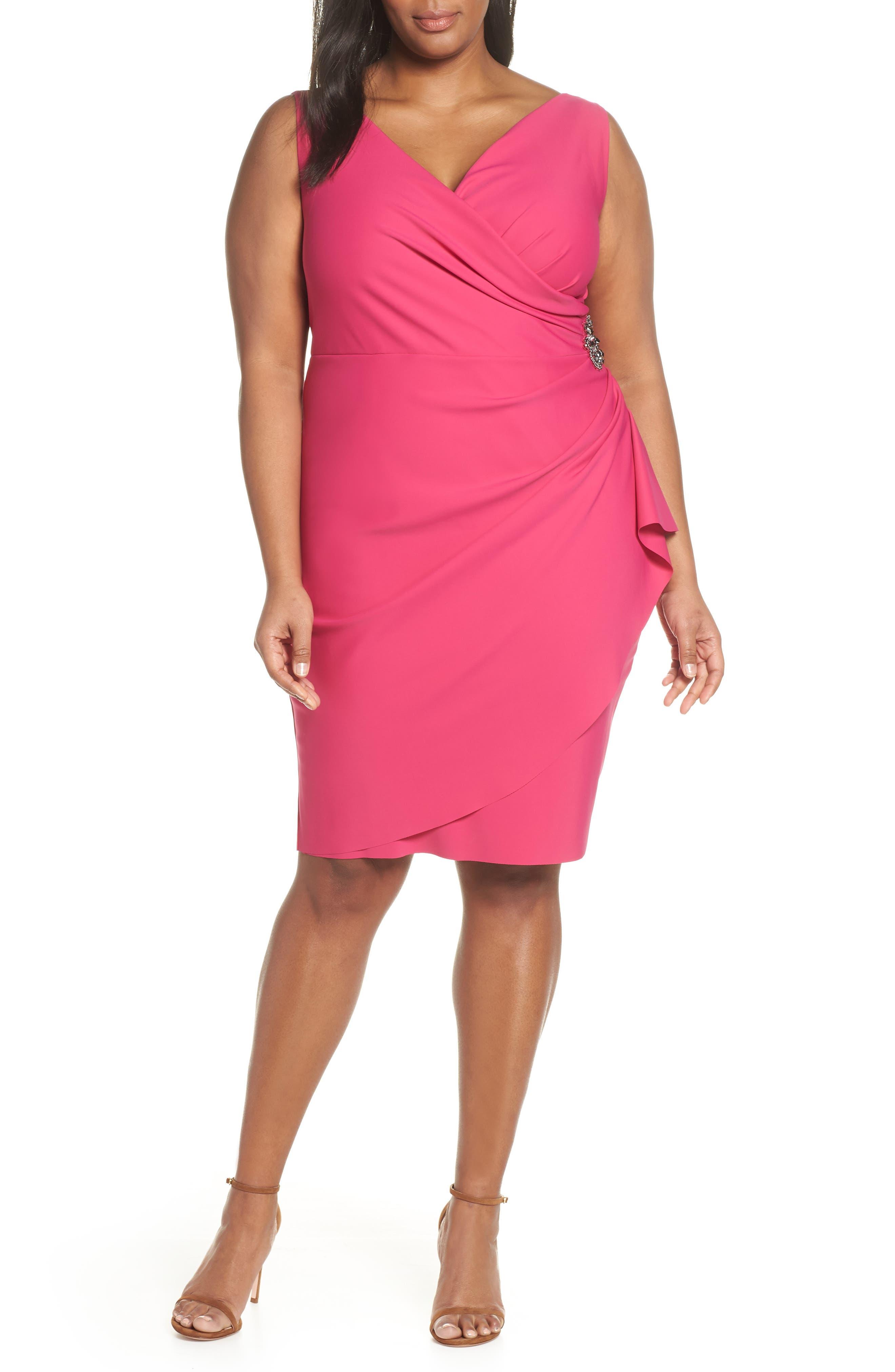Plus Size Alex Evenings Embellished Surplice Sheath Dress, Pink