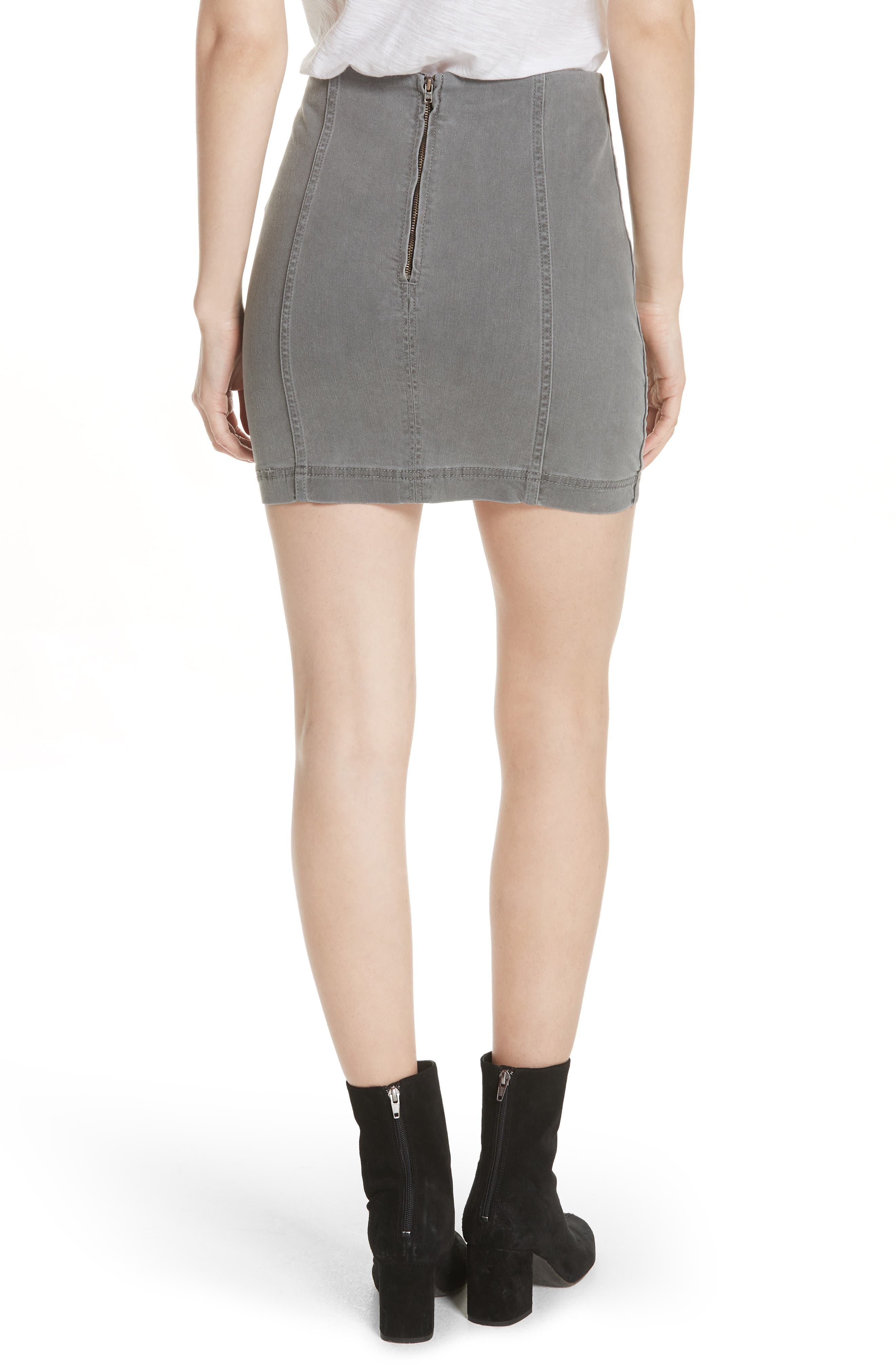FREE PEOPLE, We the Free by Free People Modern Femme Denim Miniskirt, Alternate thumbnail 2, color, LIGHT GREY