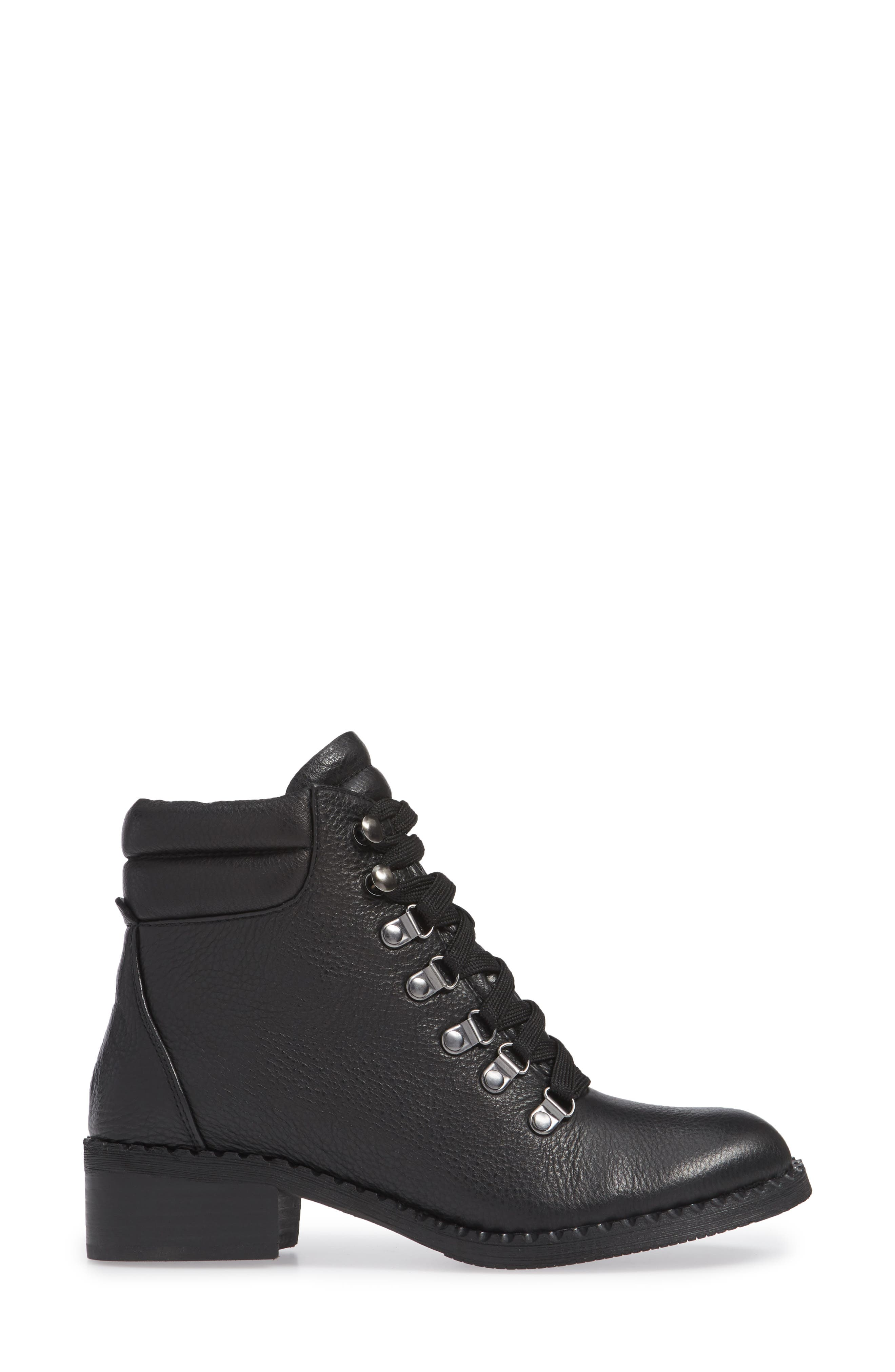 GENTLE SOULS BY KENNETH COLE, Brooklyn Combat Boot, Alternate thumbnail 3, color, BLACK LEATHER