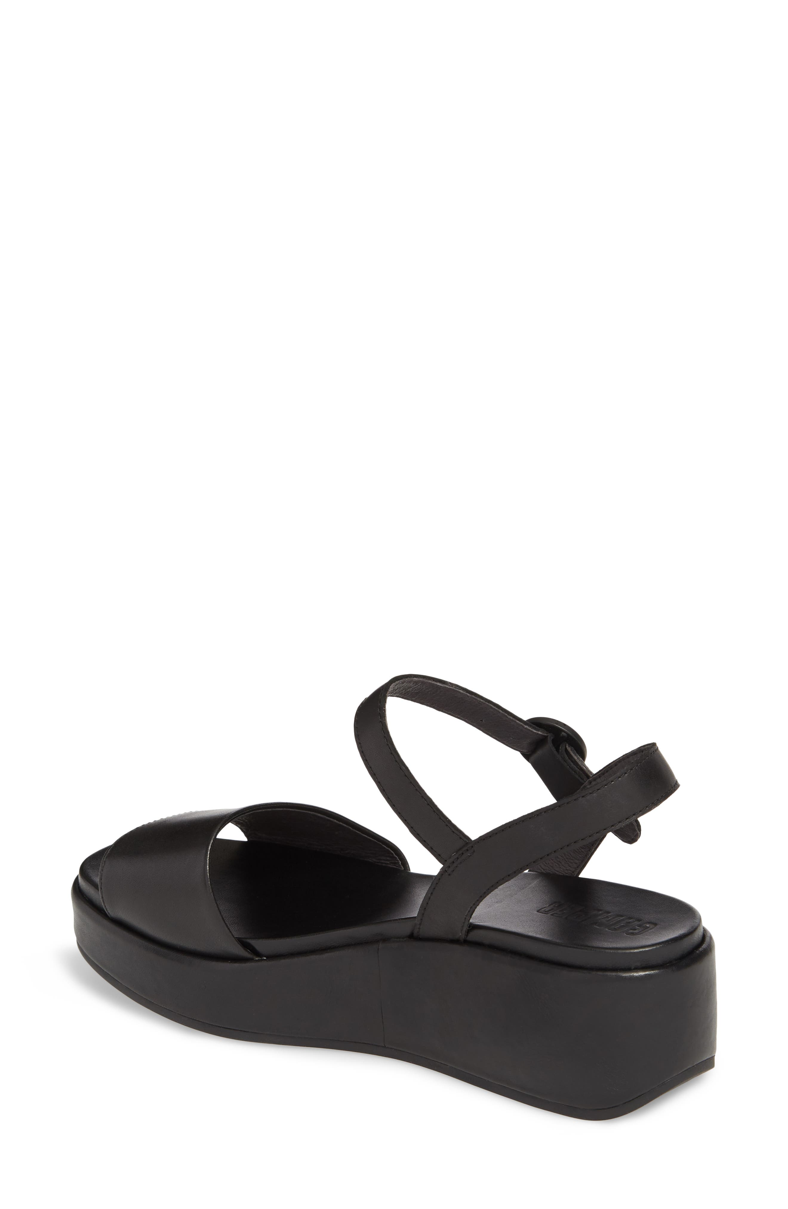 CAMPER, Misia Platform Wedge Sandal, Alternate thumbnail 2, color, BLACK LEATHER