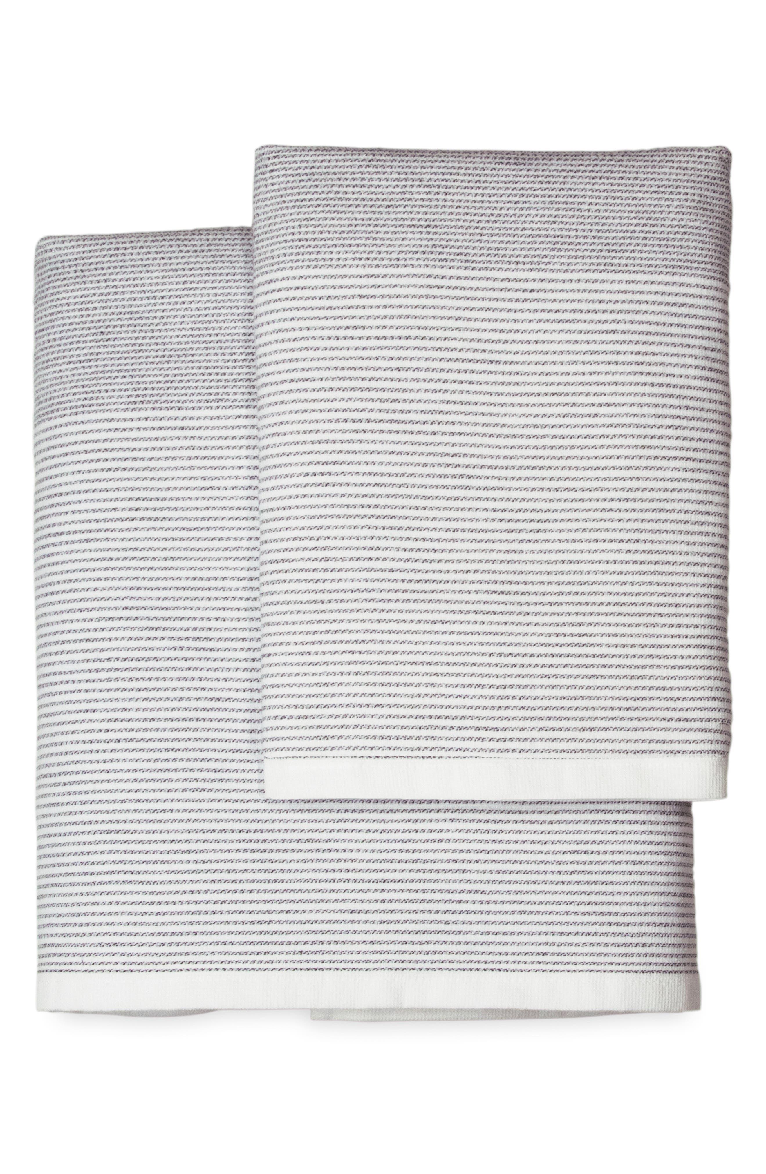 DKNY, PURE Stripe Hand Towel, Main thumbnail 1, color, WHITE/ BLACK