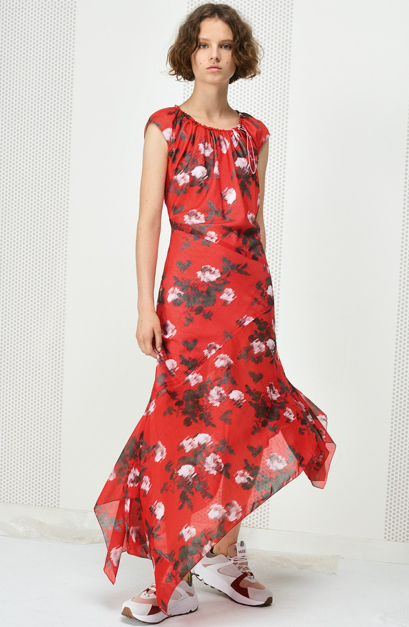 HUGO, Kefesha Asymmetrical Midi Dress, Alternate thumbnail 7, color, RED