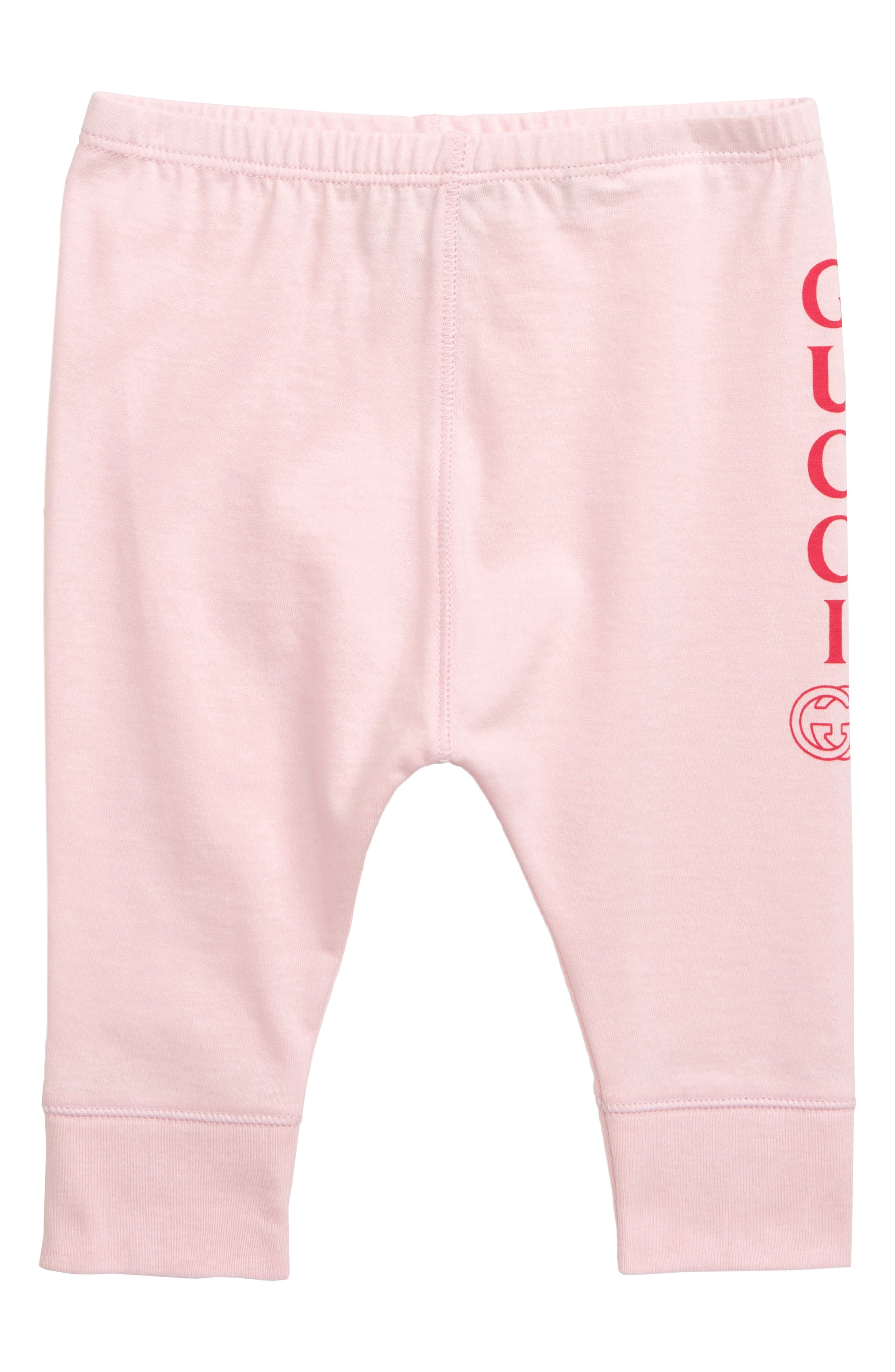 GUCCI, Logo Leggings, Main thumbnail 1, color, PALE PINK SAND/ RED