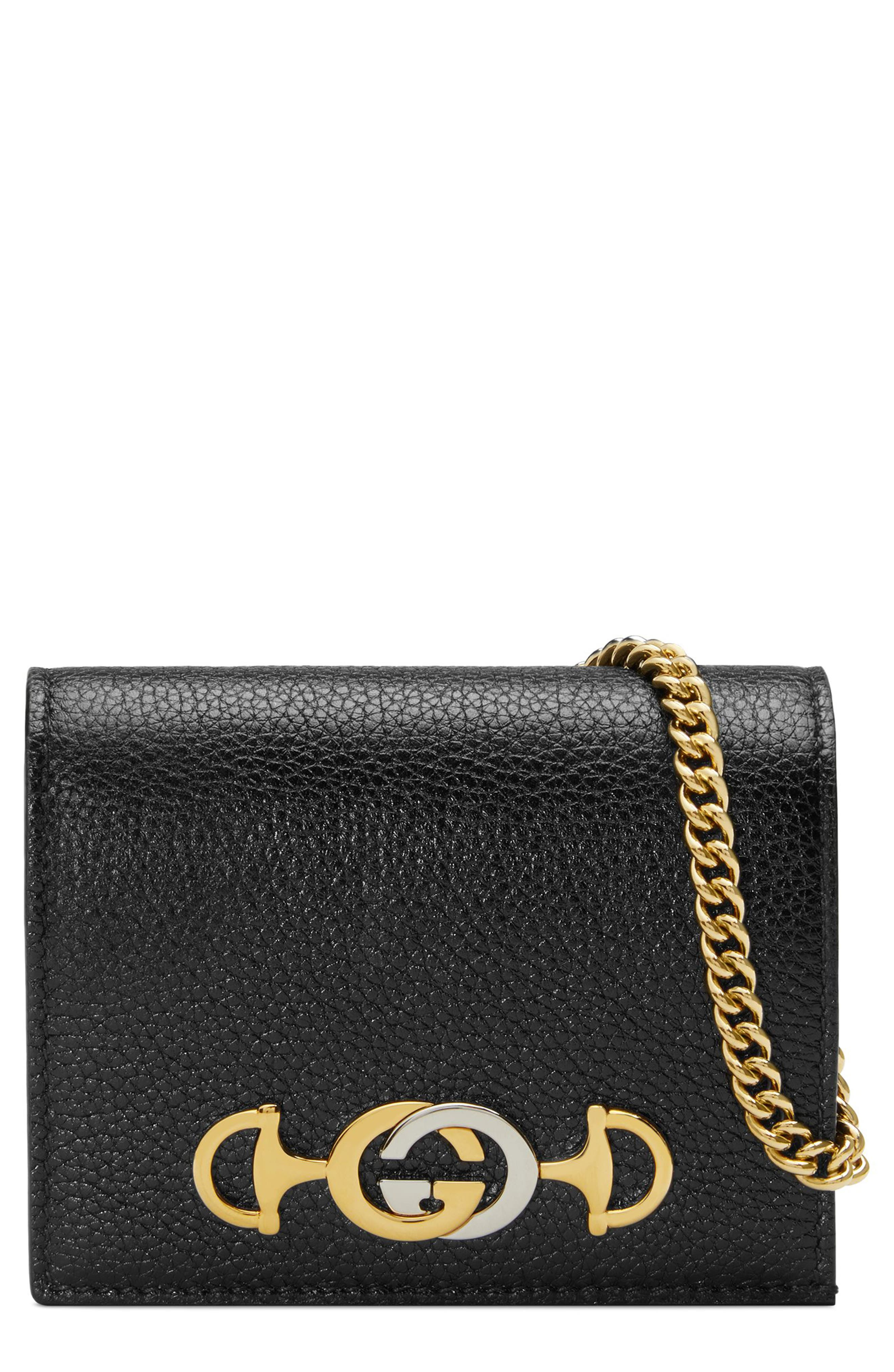 GUCCI Zumi 655 Leather Wallet on a Chain, Main, color, BLACK