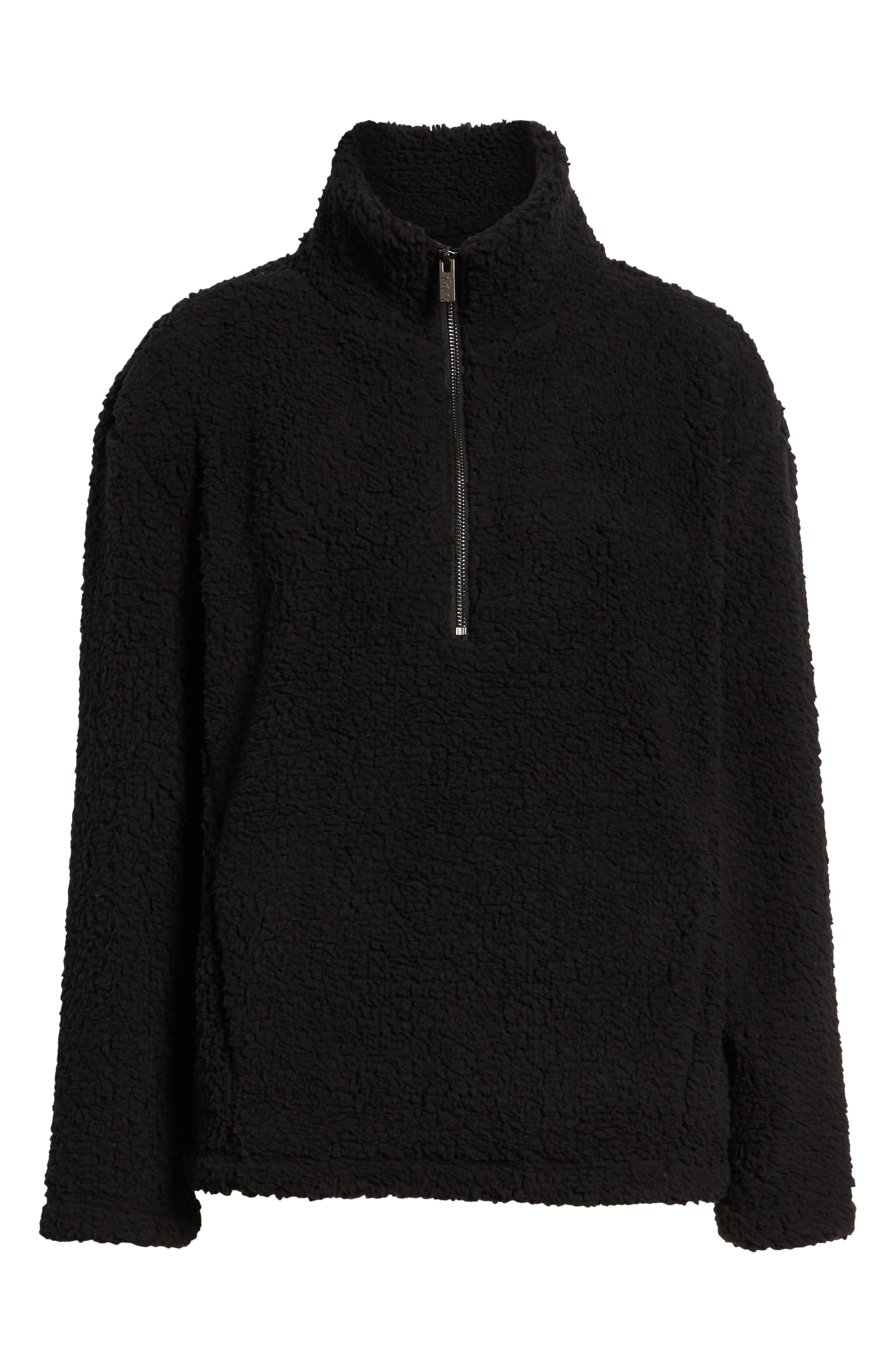 MARC NEW YORK, Teddy Faux Shearling Quarter Zip Jacket, Alternate thumbnail 6, color, BLACK