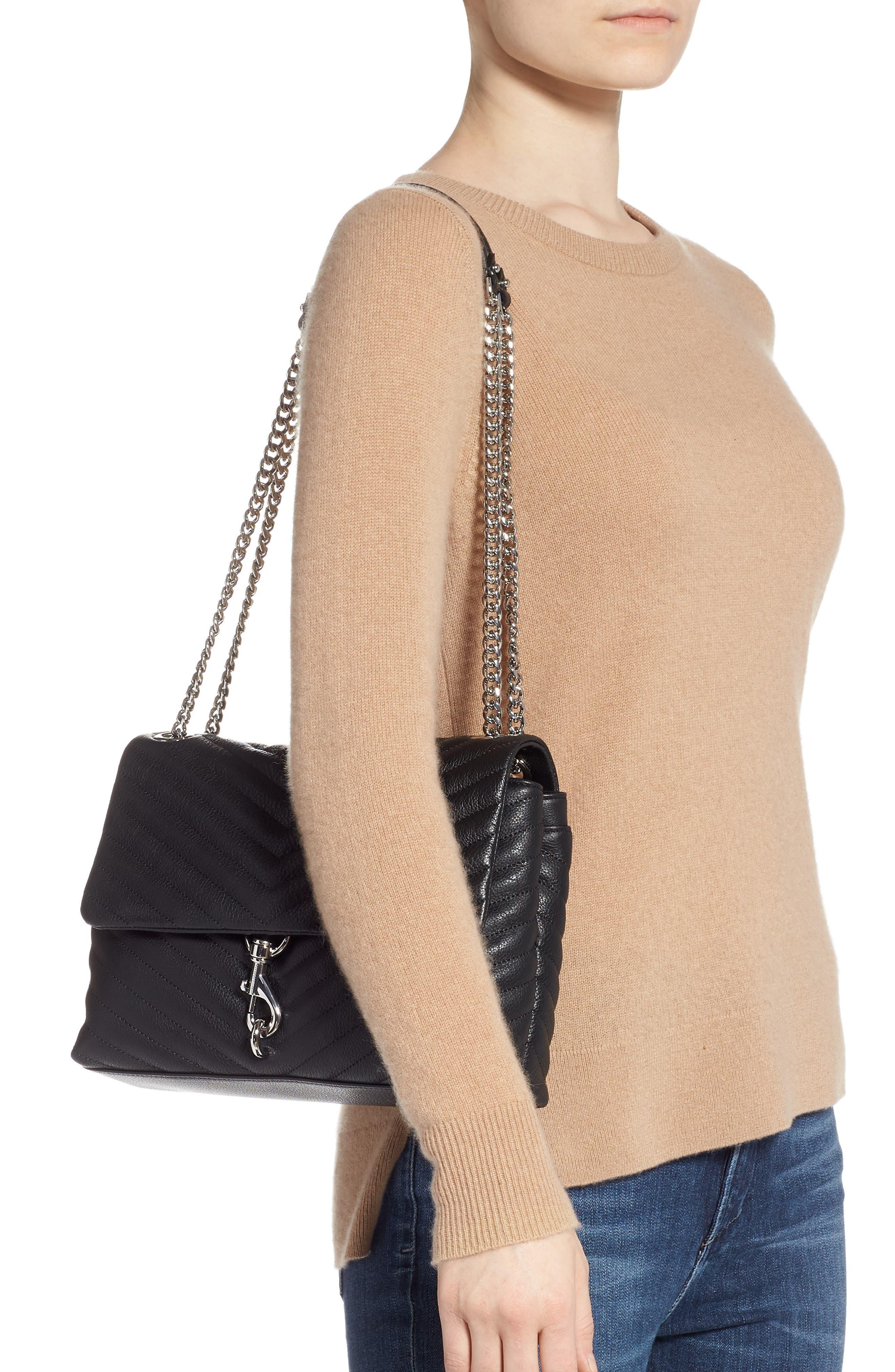 REBECCA MINKOFF, Edie Flap Quilted Leather Shoulder Bag, Alternate thumbnail 2, color, BLACK