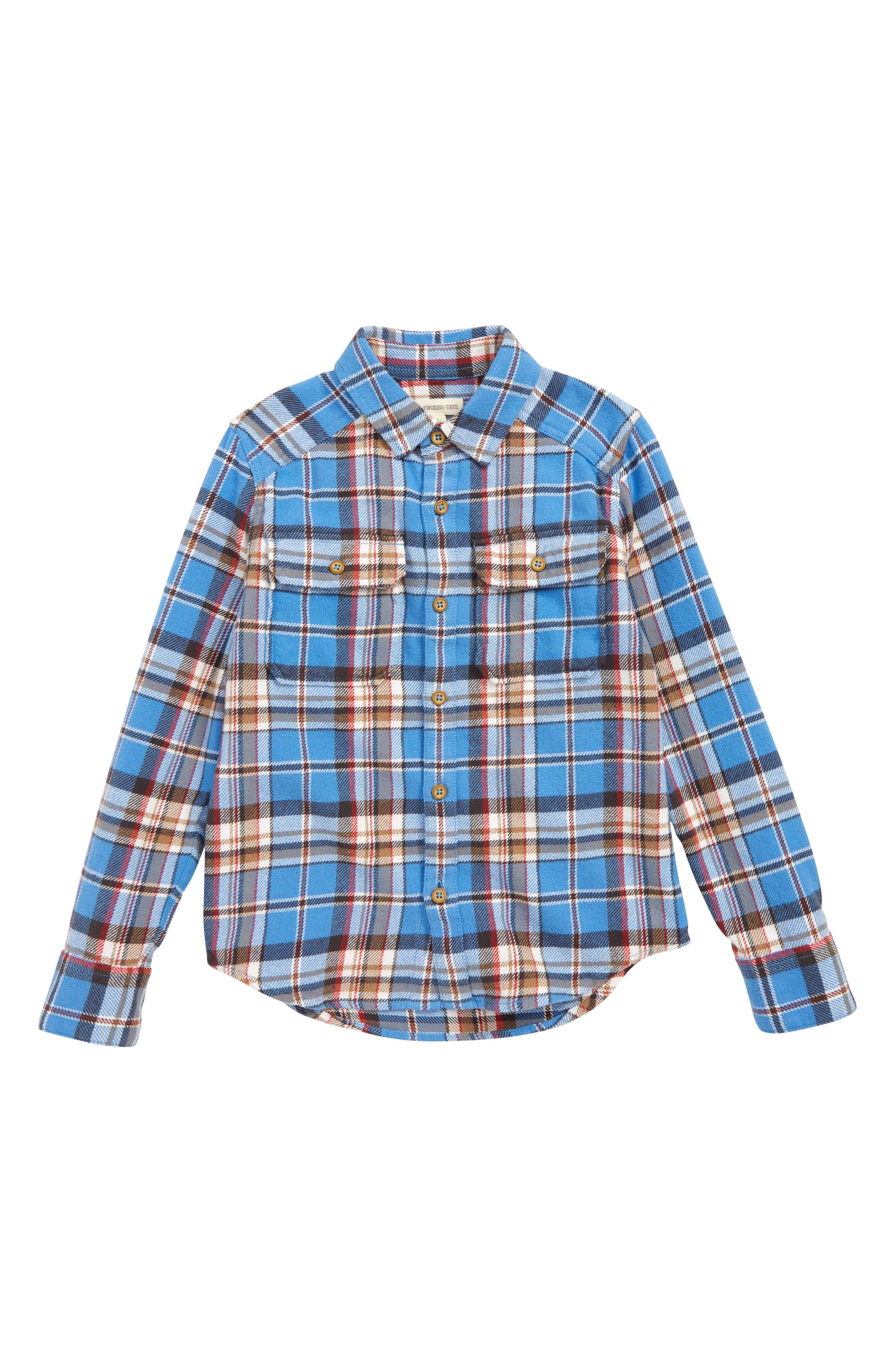 TUCKER + TATE, Plaid Flannel Shirt, Main thumbnail 1, color, BLUE LAPIS BILLY PLAID