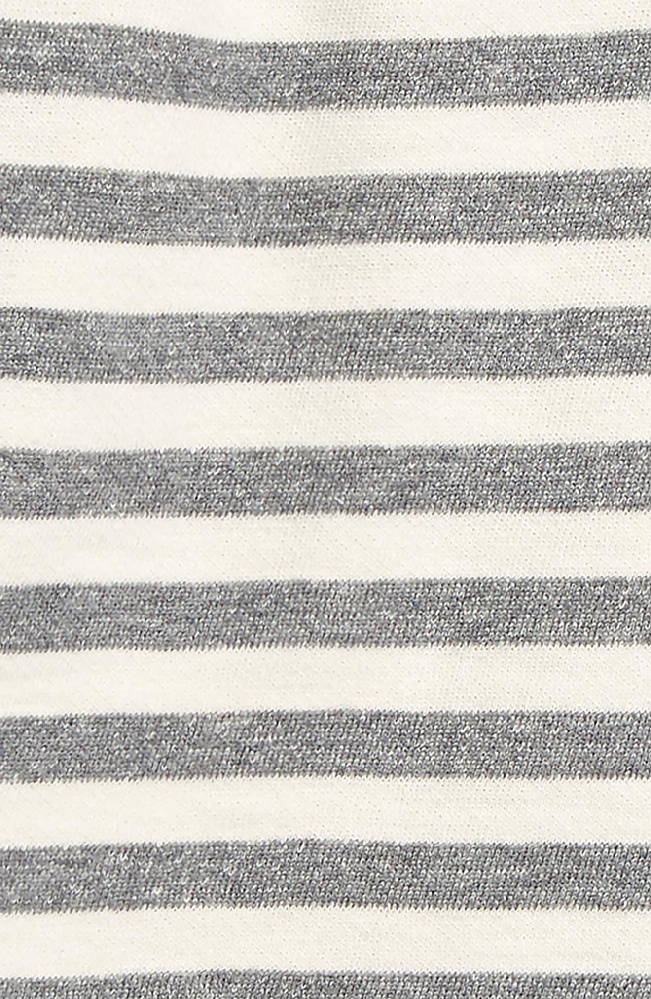 NORDSTROM BABY, Stripe Dress & Leggings Set, Alternate thumbnail 2, color, IVORY EGRET- GREY STRIPE