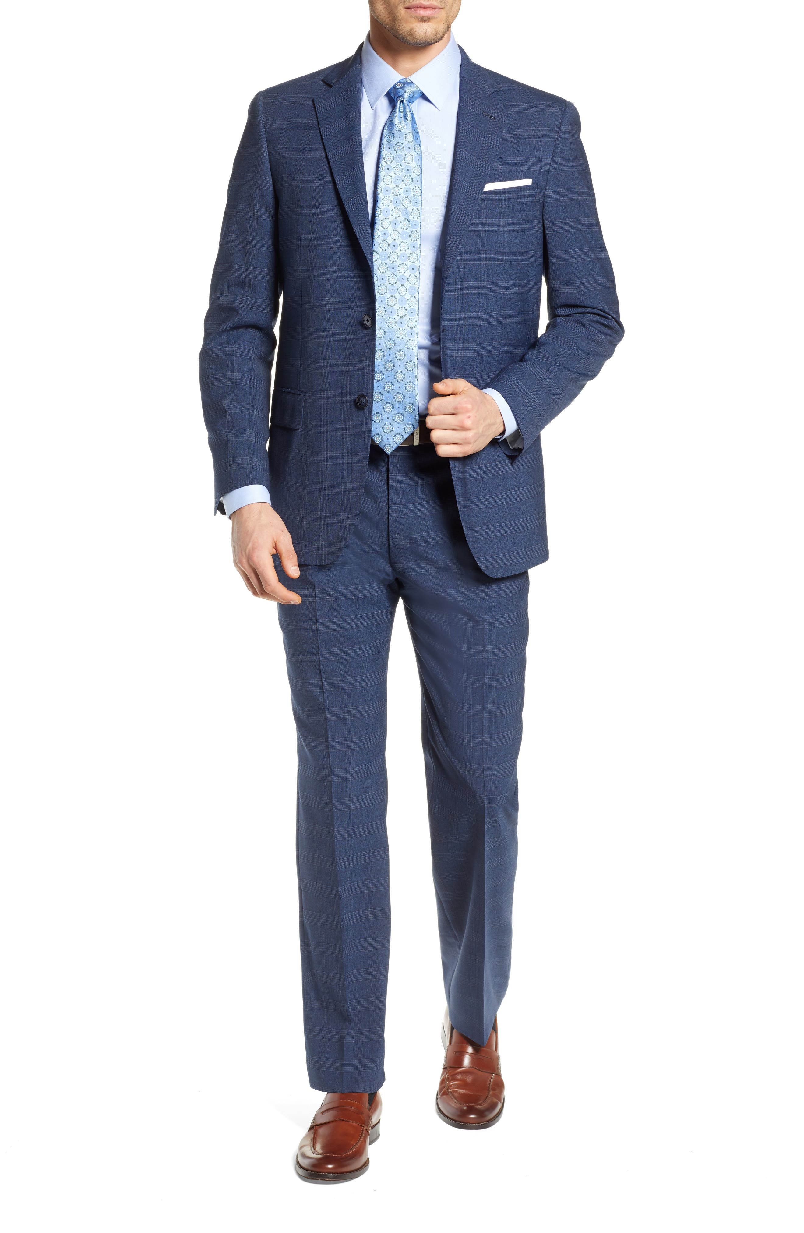 HART SCHAFFNER MARX, New York Classic Fit Plaid Wool Blend Suit, Main thumbnail 1, color, 401