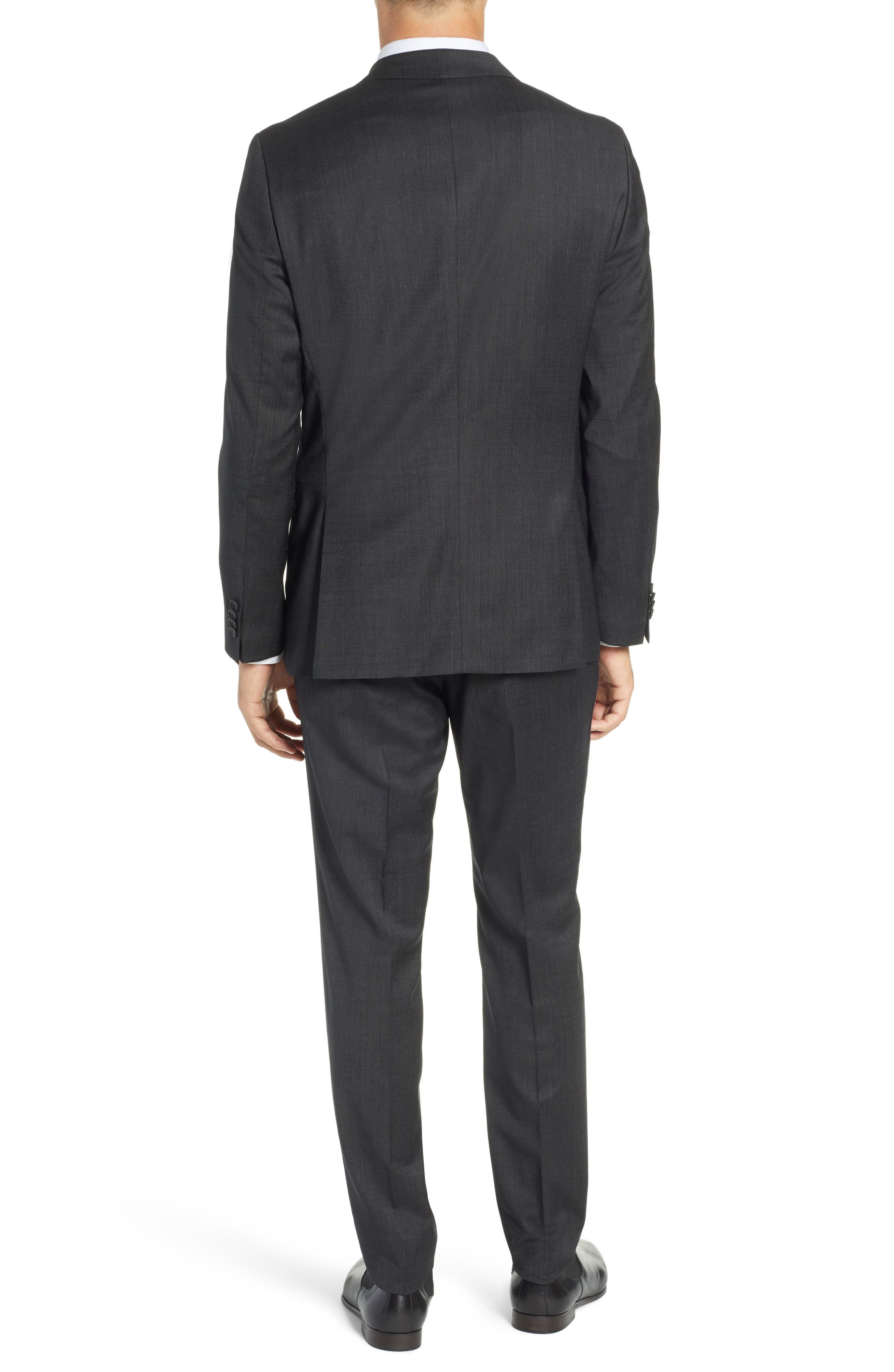 BOSS, Nestro/Byte Trim Fit Stretch Solid Wool Suit, Alternate thumbnail 2, color, 001