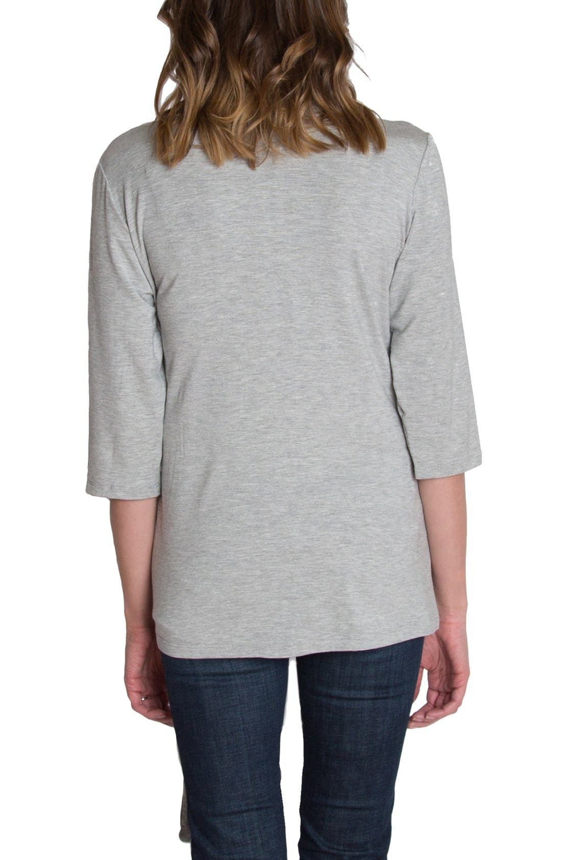 UDDERLY HOT MAMA, Whimsical Nursing Wrap Top, Alternate thumbnail 2, color, HEATHER GRAY