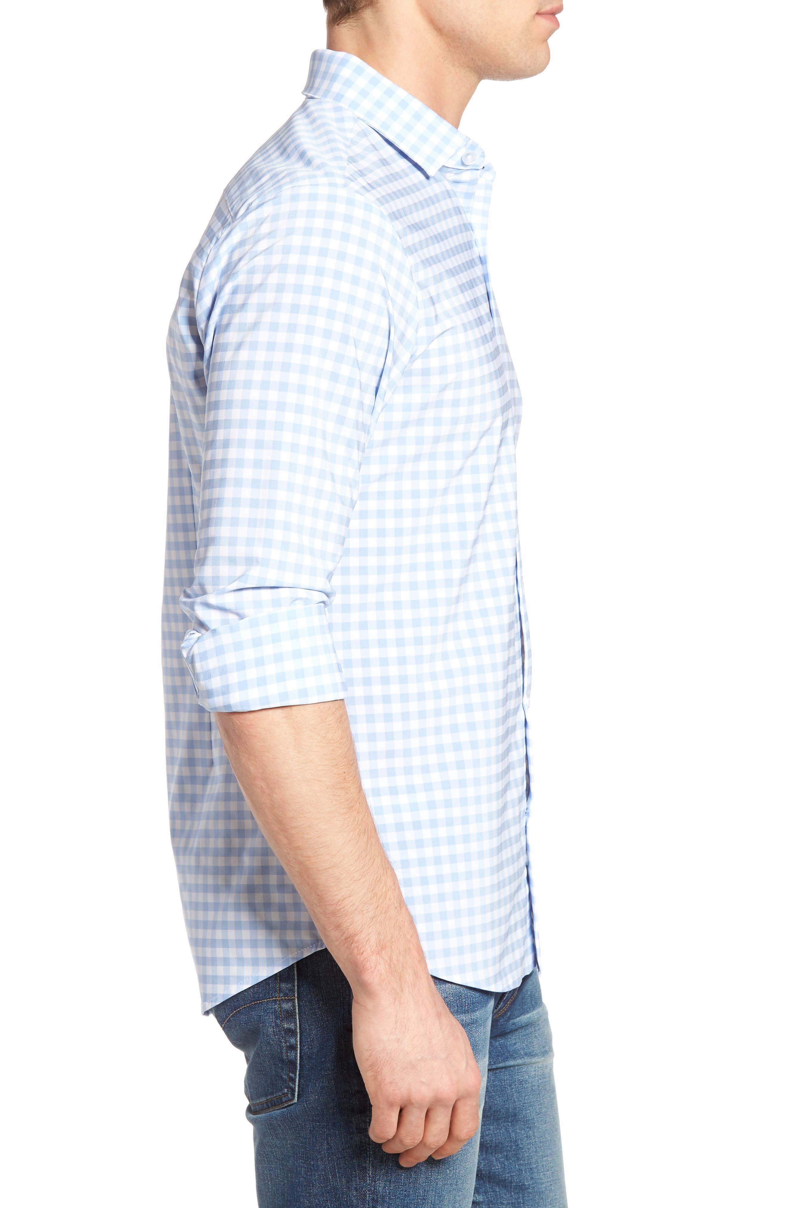 MIZZEN+MAIN, Hampton Trim Fit Gingham Performance Sport Shirt, Alternate thumbnail 3, color, BLUE