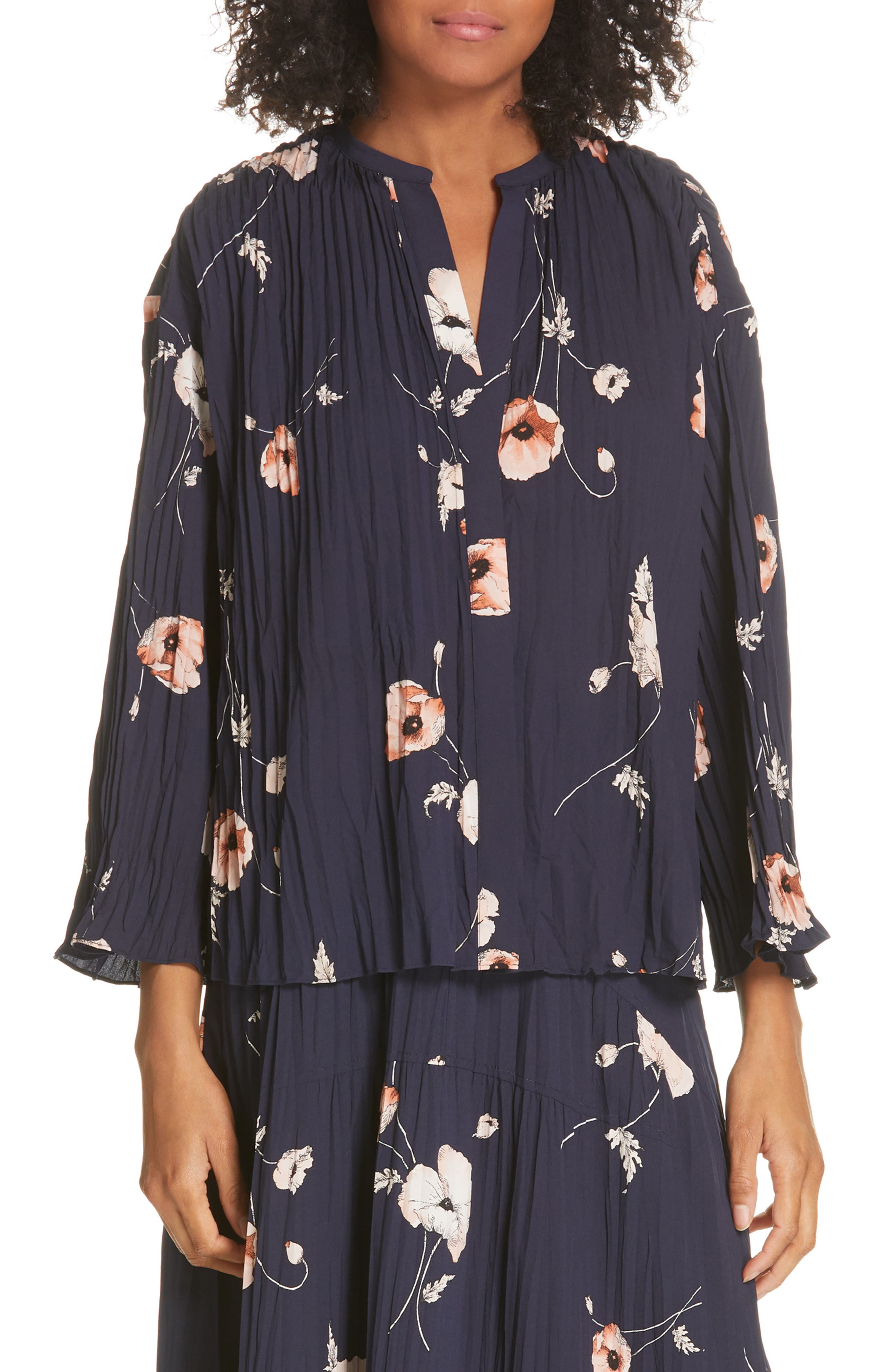 VINCE, Tossed Poppy Pleated Blouse, Main thumbnail 1, color, MARINE