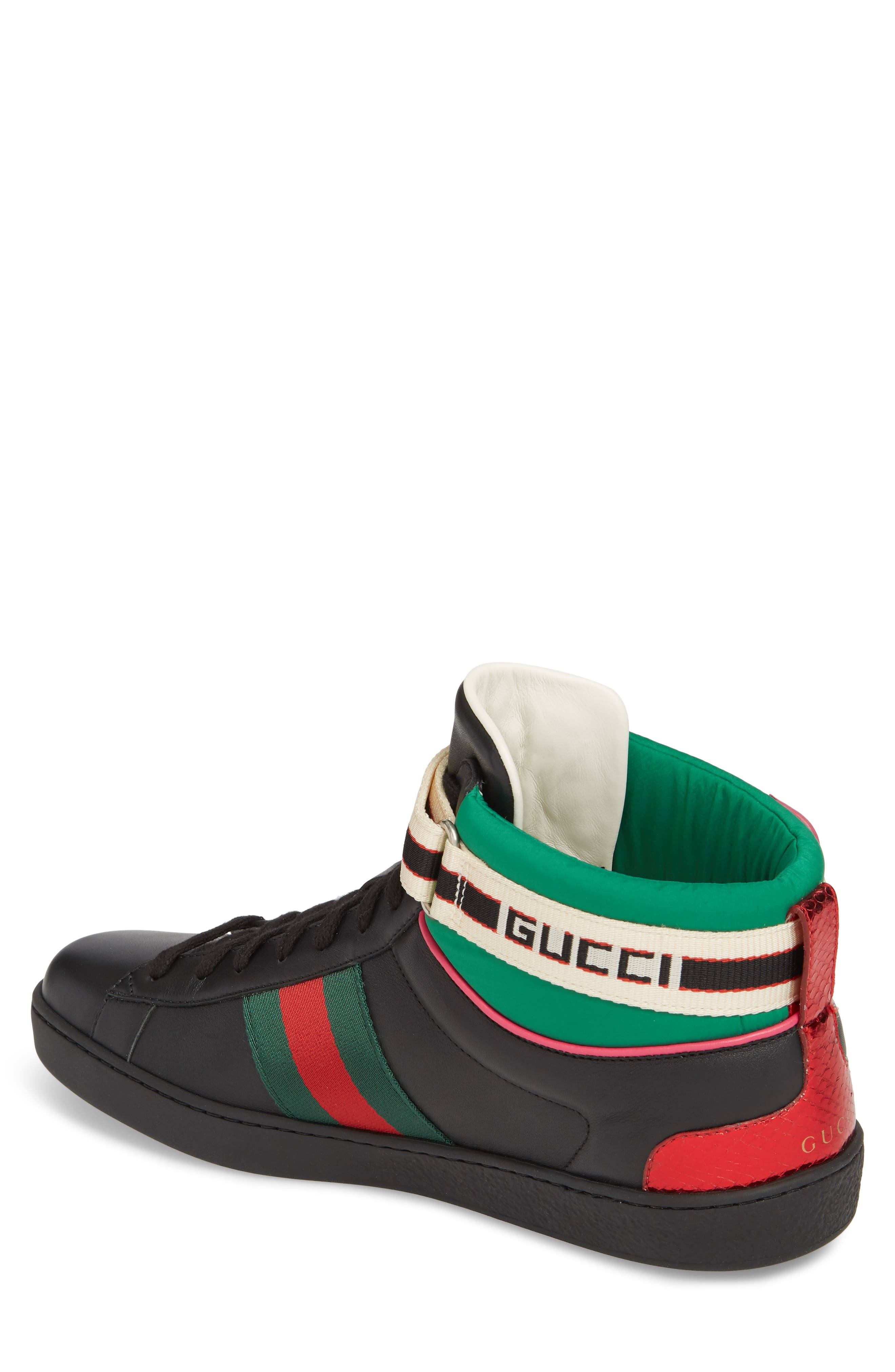 GUCCI, New Ace Stripe High Top Sneaker, Alternate thumbnail 2, color, BLACK