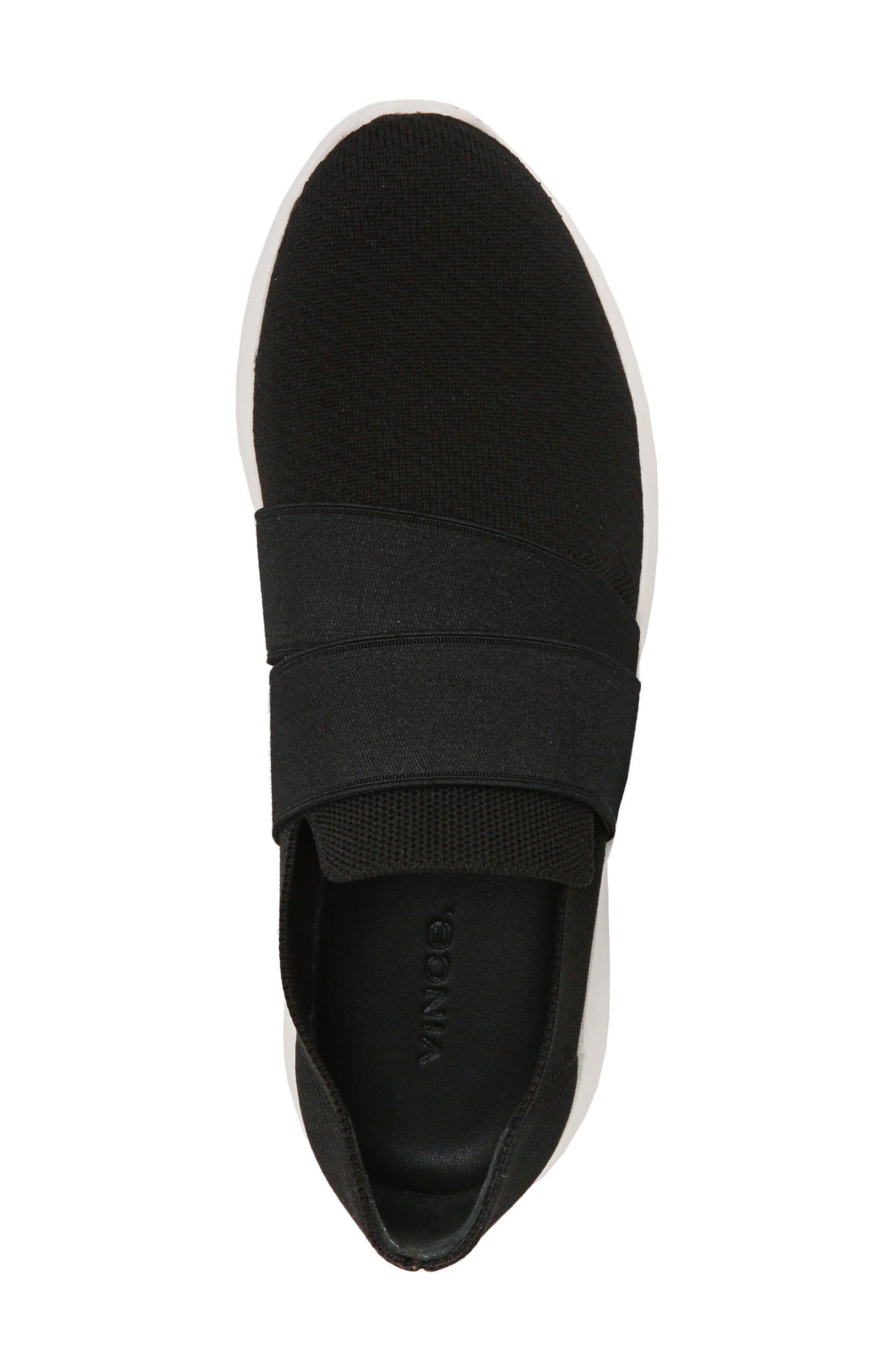 VINCE, Aston Slip-On Sneaker, Alternate thumbnail 4, color, BLACK SOLID KNIT