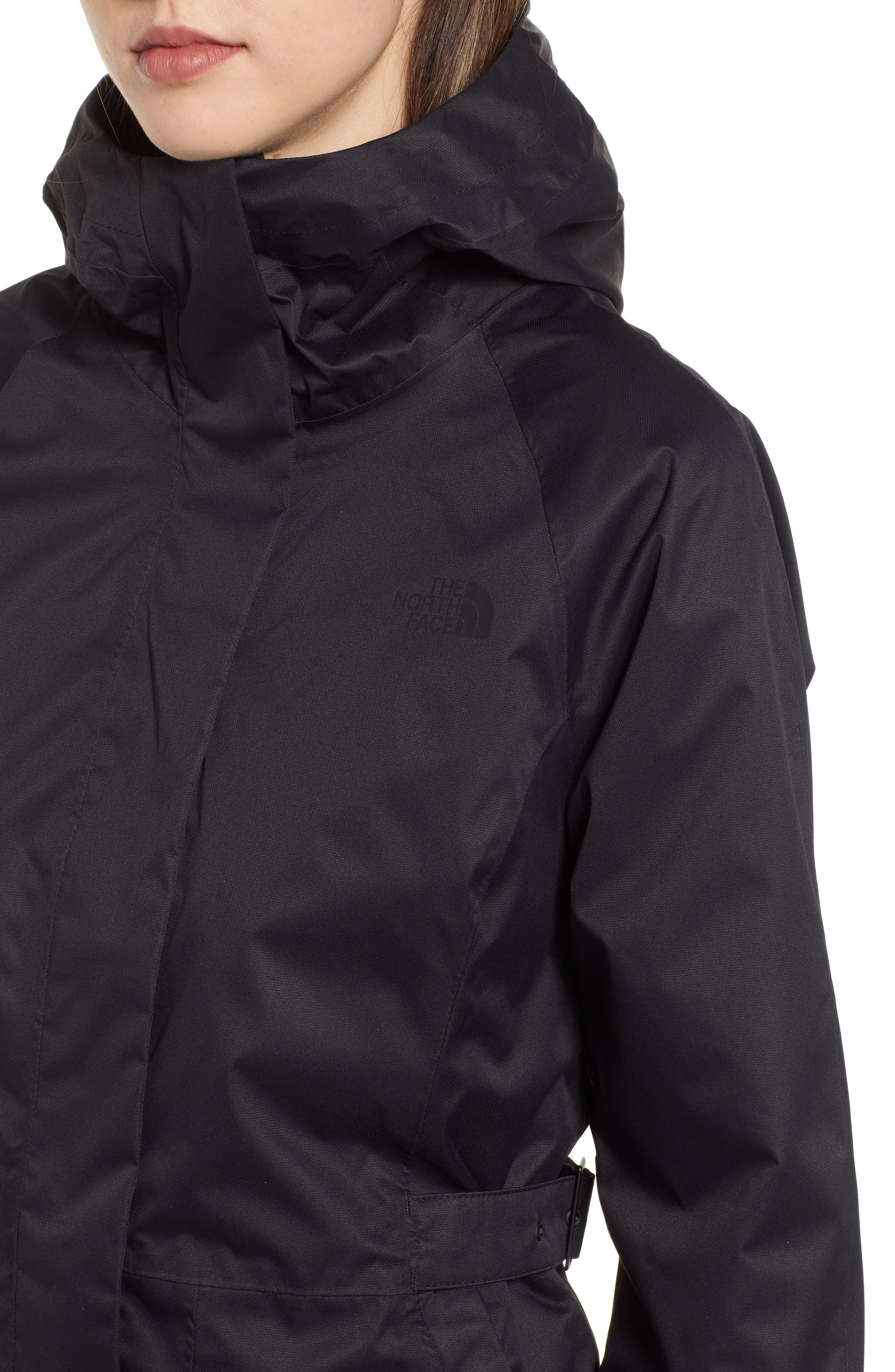 THE NORTH FACE, City Breeze Trench Raincoat, Alternate thumbnail 5, color, TNF BLACK