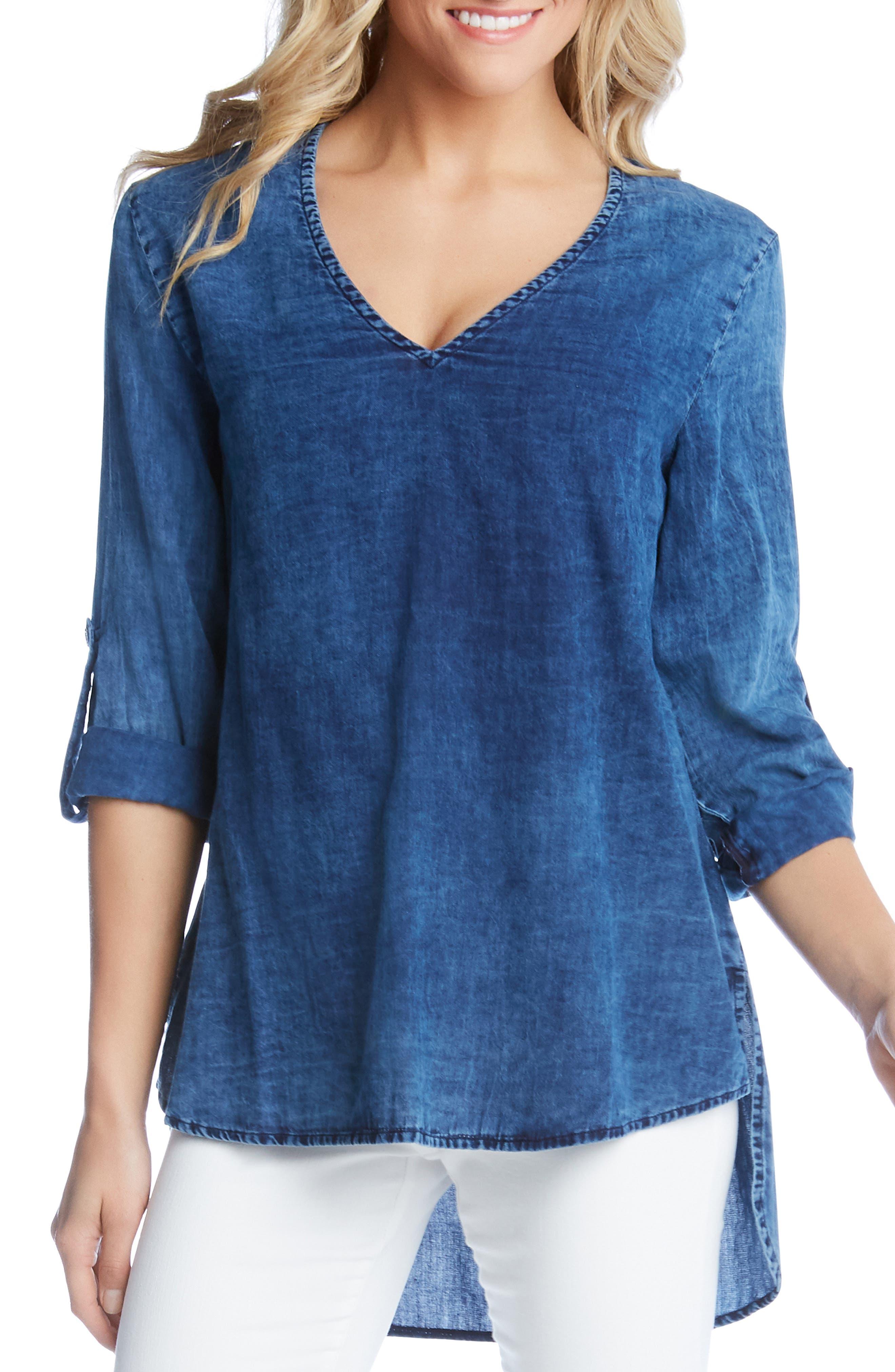 KAREN KANE High/Low Shirttail Denim Top, Main, color, INDIGO