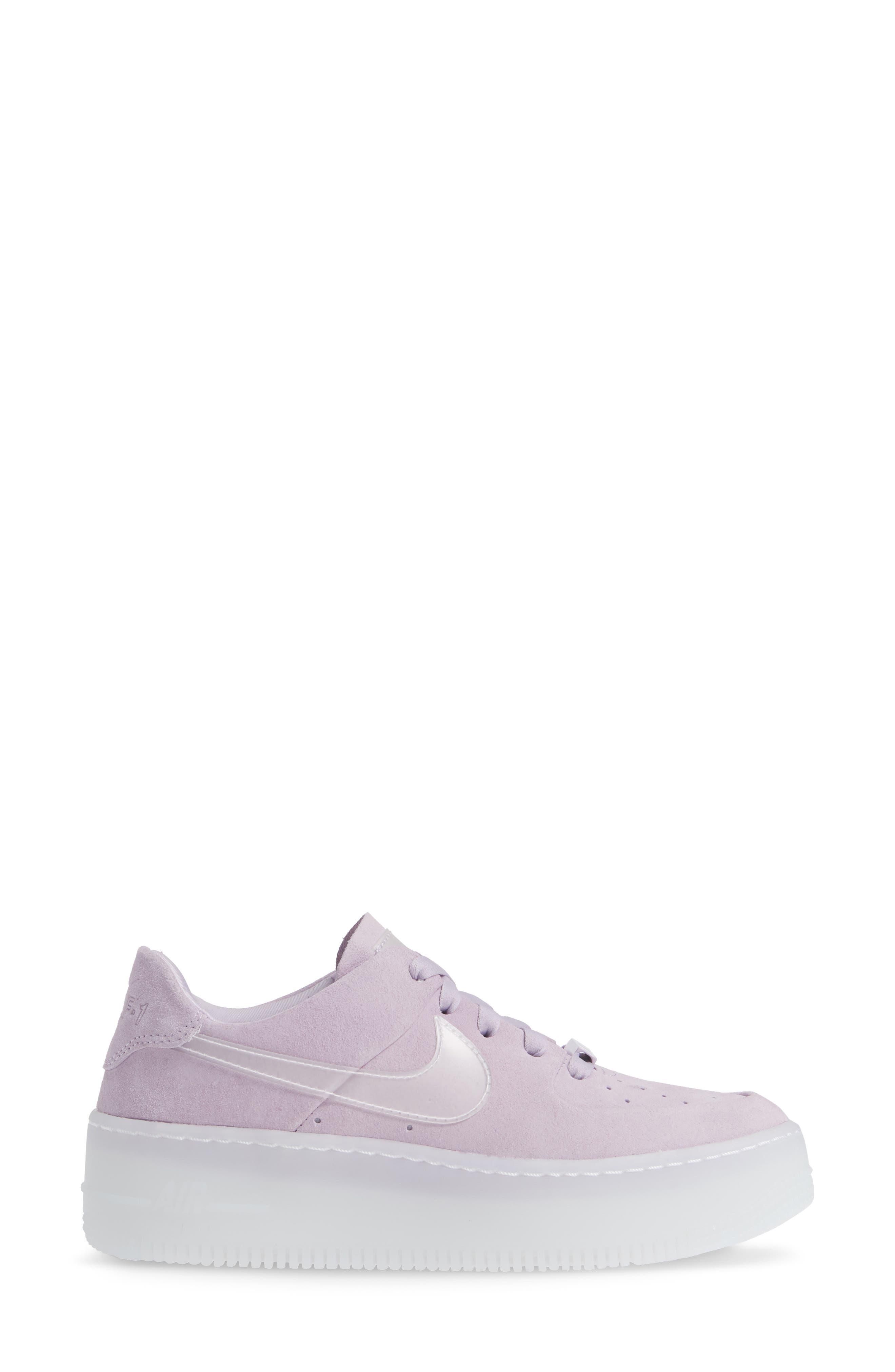 NIKE, Air Force 1 Sage Low Platform Sneaker, Alternate thumbnail 3, color, VIOLET MIST/ VIOLET MIST