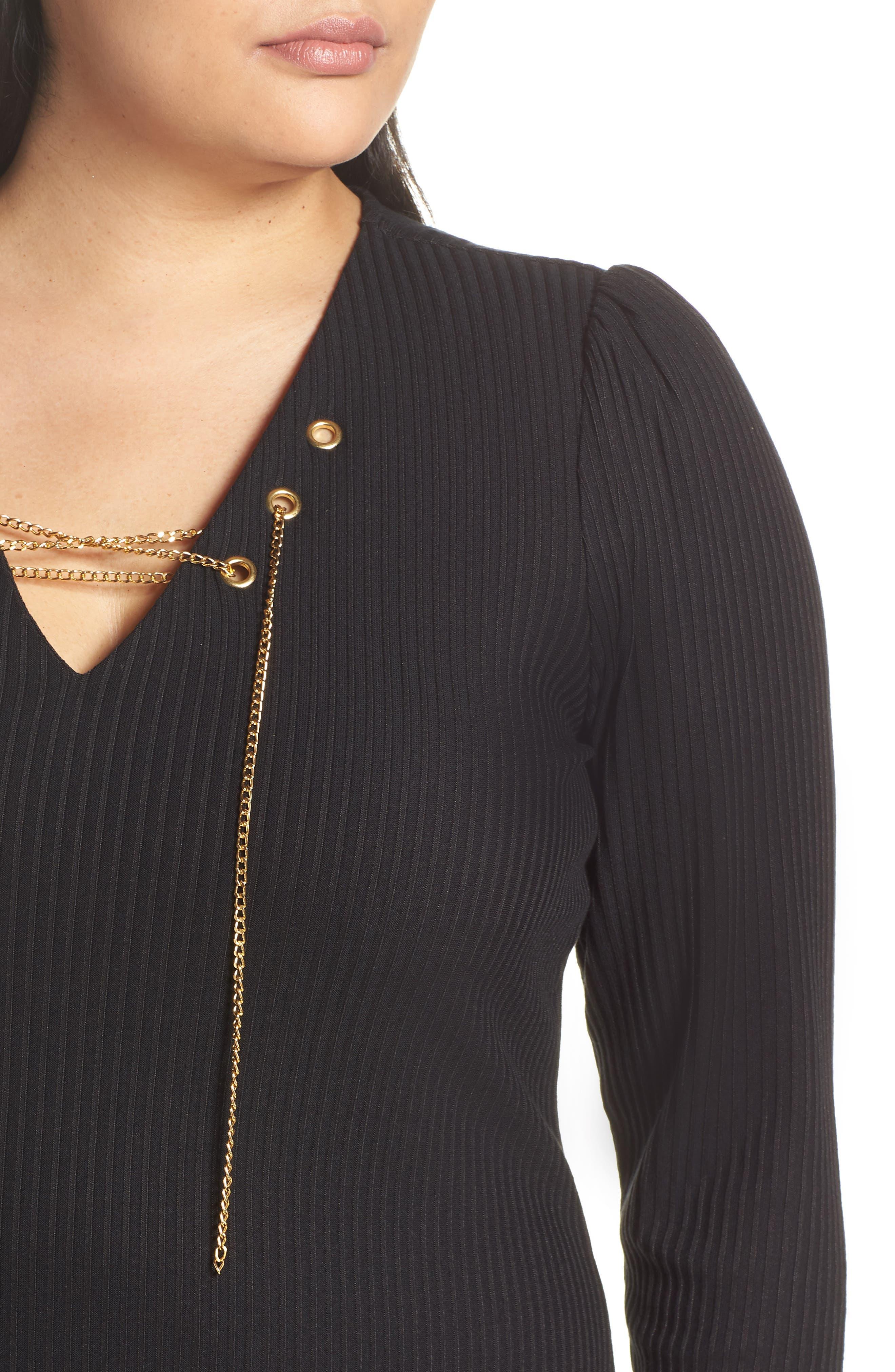 MICHAEL MICHAEL KORS, Chain Lace-Up V-Neck Sweater Dress, Alternate thumbnail 5, color, 001