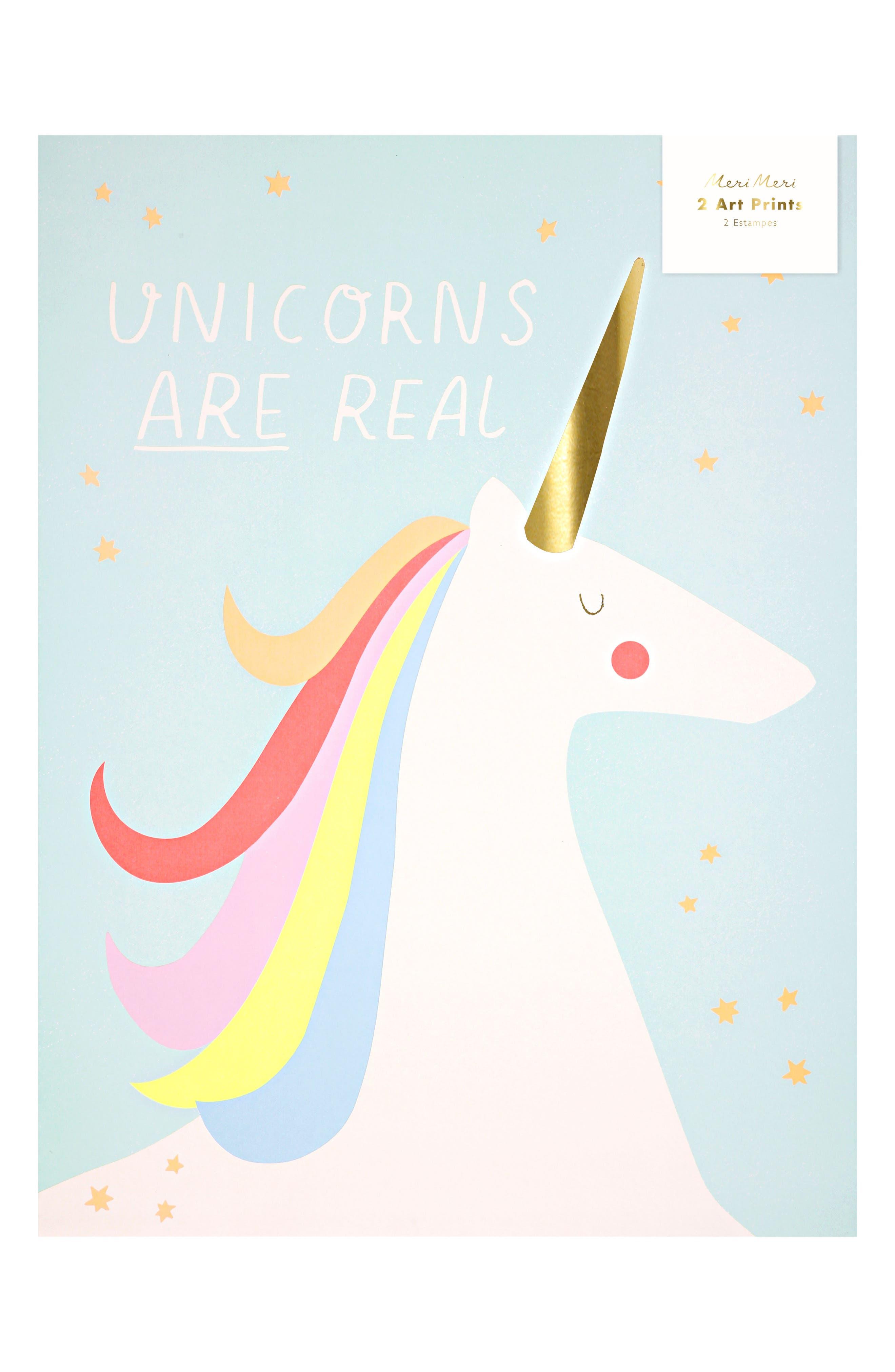 MERI MERI, Unicorn & Rainbow 2-Piece Art Print Set, Main thumbnail 1, color, PINK