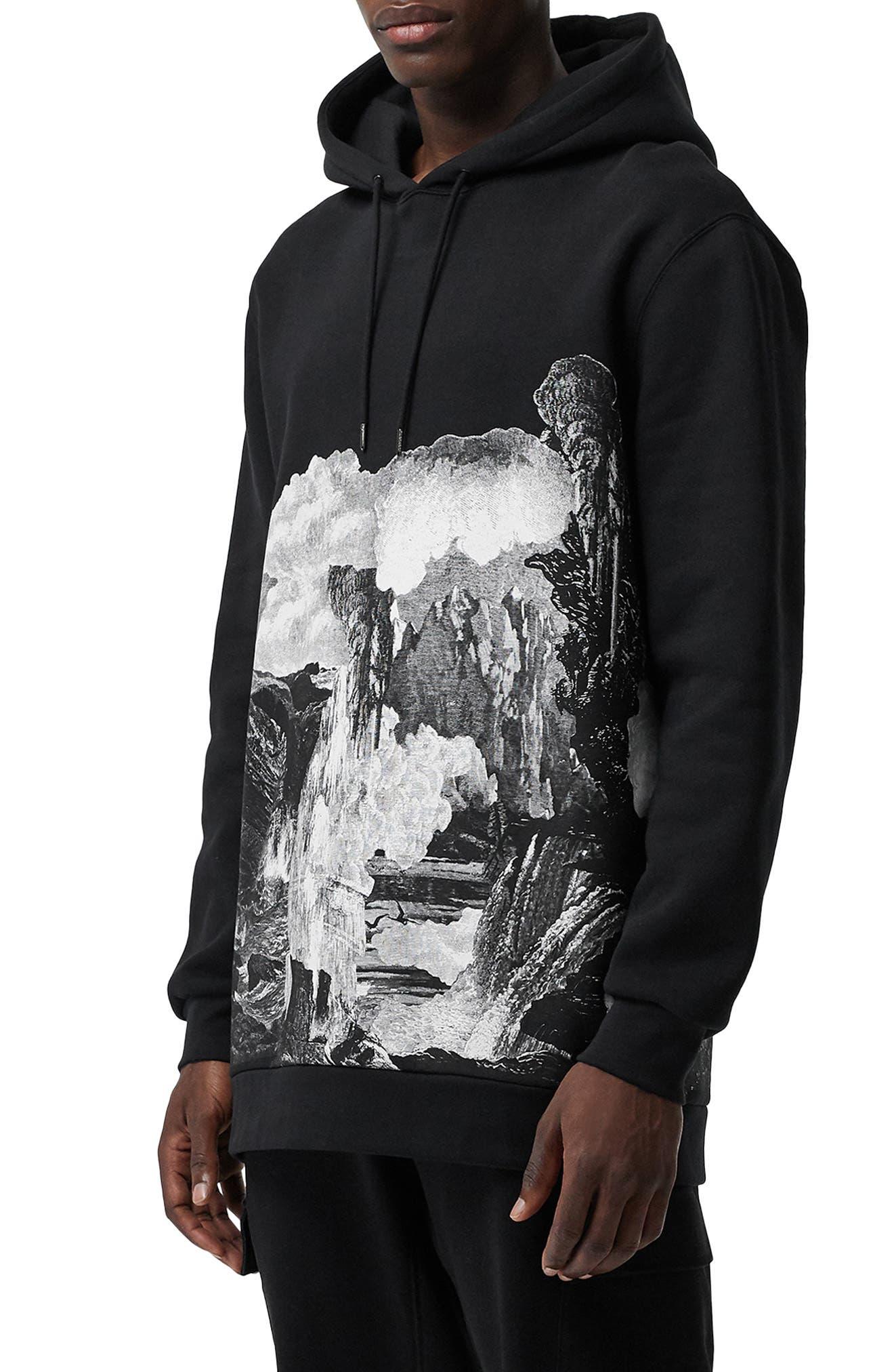 BURBERRY, Dreamscape Print Hooded Sweatshirt, Alternate thumbnail 2, color, BLACK