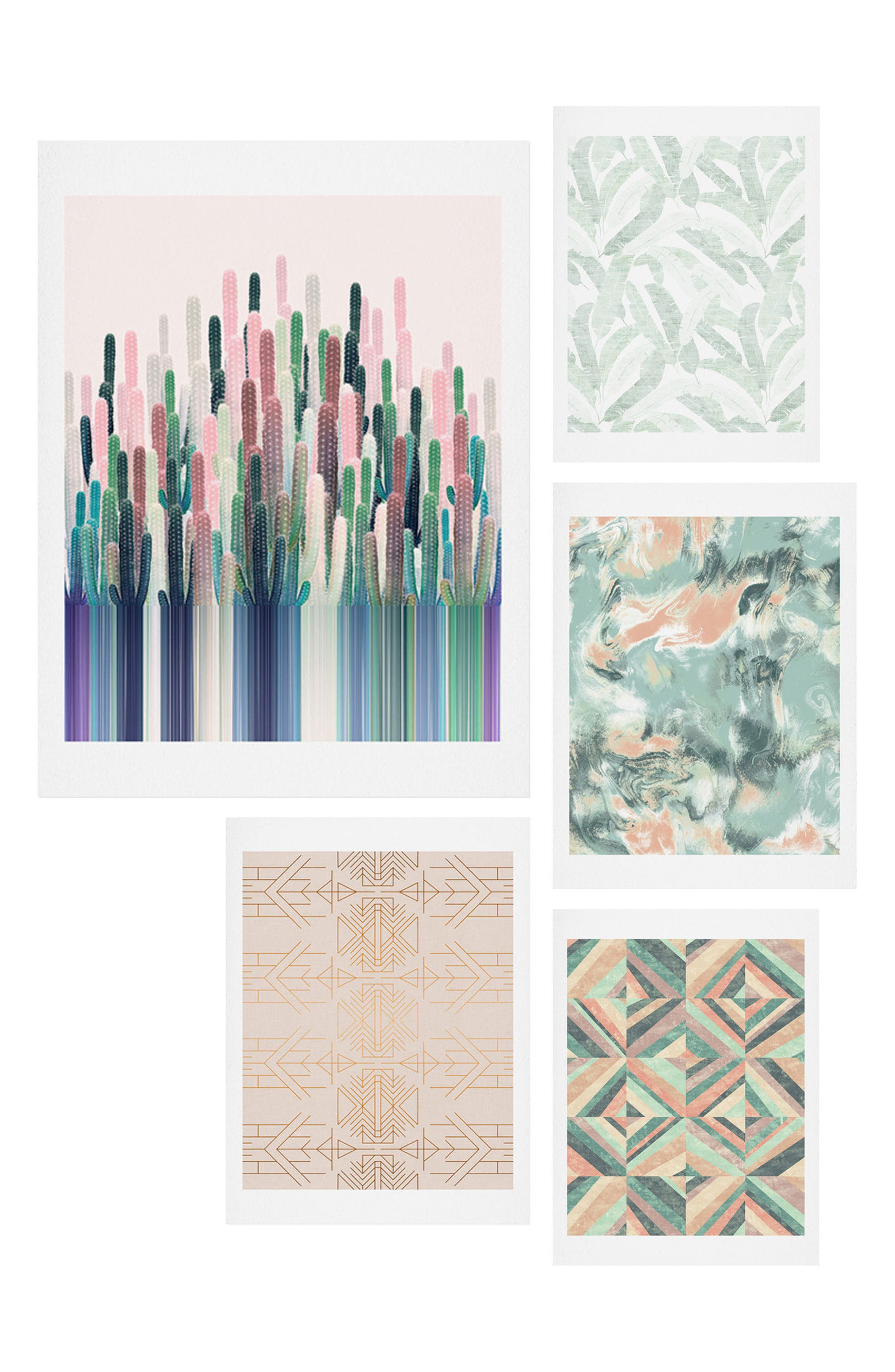 DENY DESIGNS, Matcha Blush Five-Piece Gallery Wall Art Print Set, Main thumbnail 1, color, CORAL AND GREEN