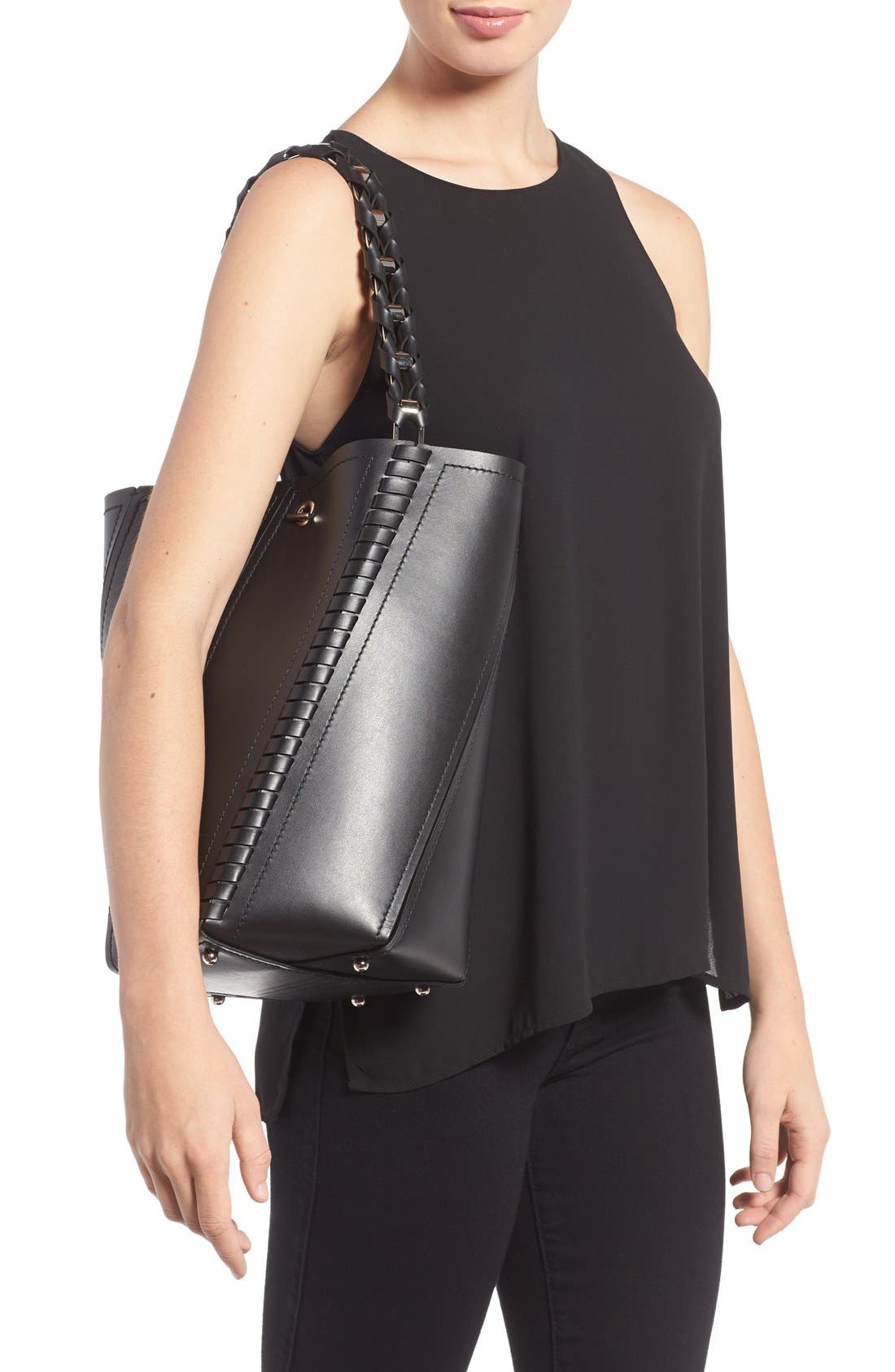 PROENZA SCHOULER, 'Medium Hex' Whipstitch Leather Bucket Bag, Alternate thumbnail 3, color, BLACK