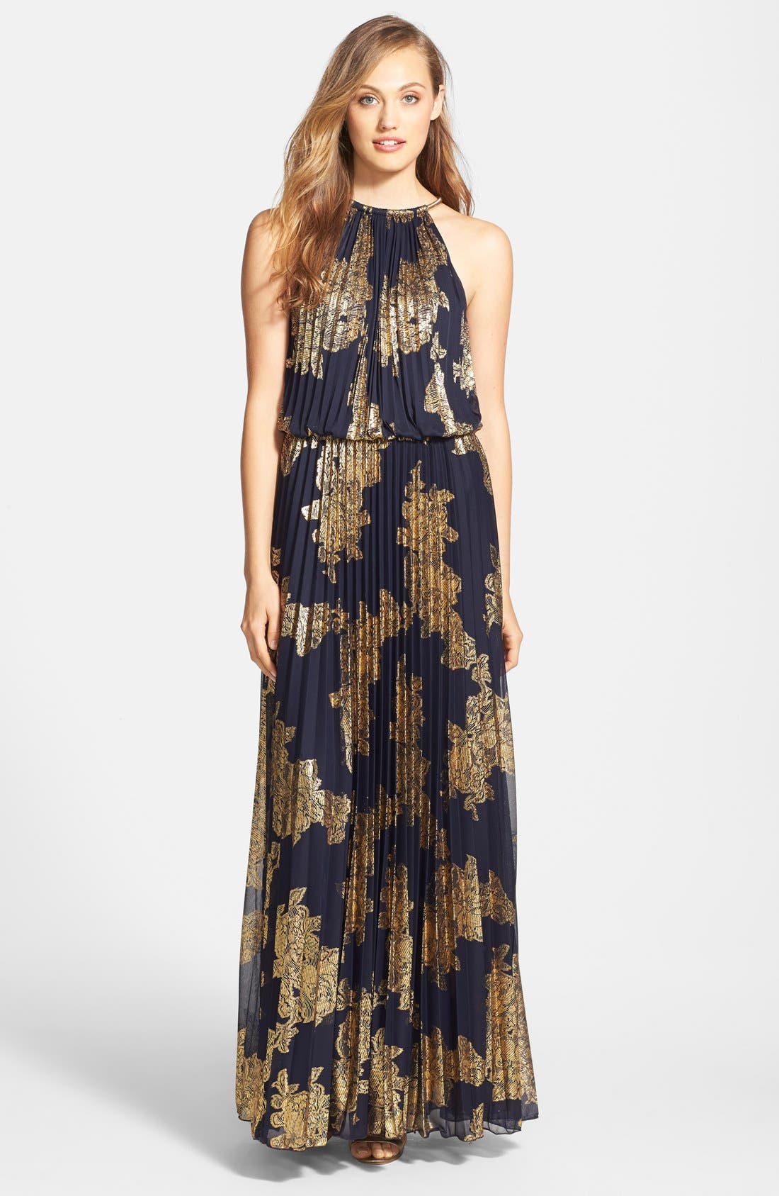 XSCAPE Foiled Blouson Gown, Main, color, 409