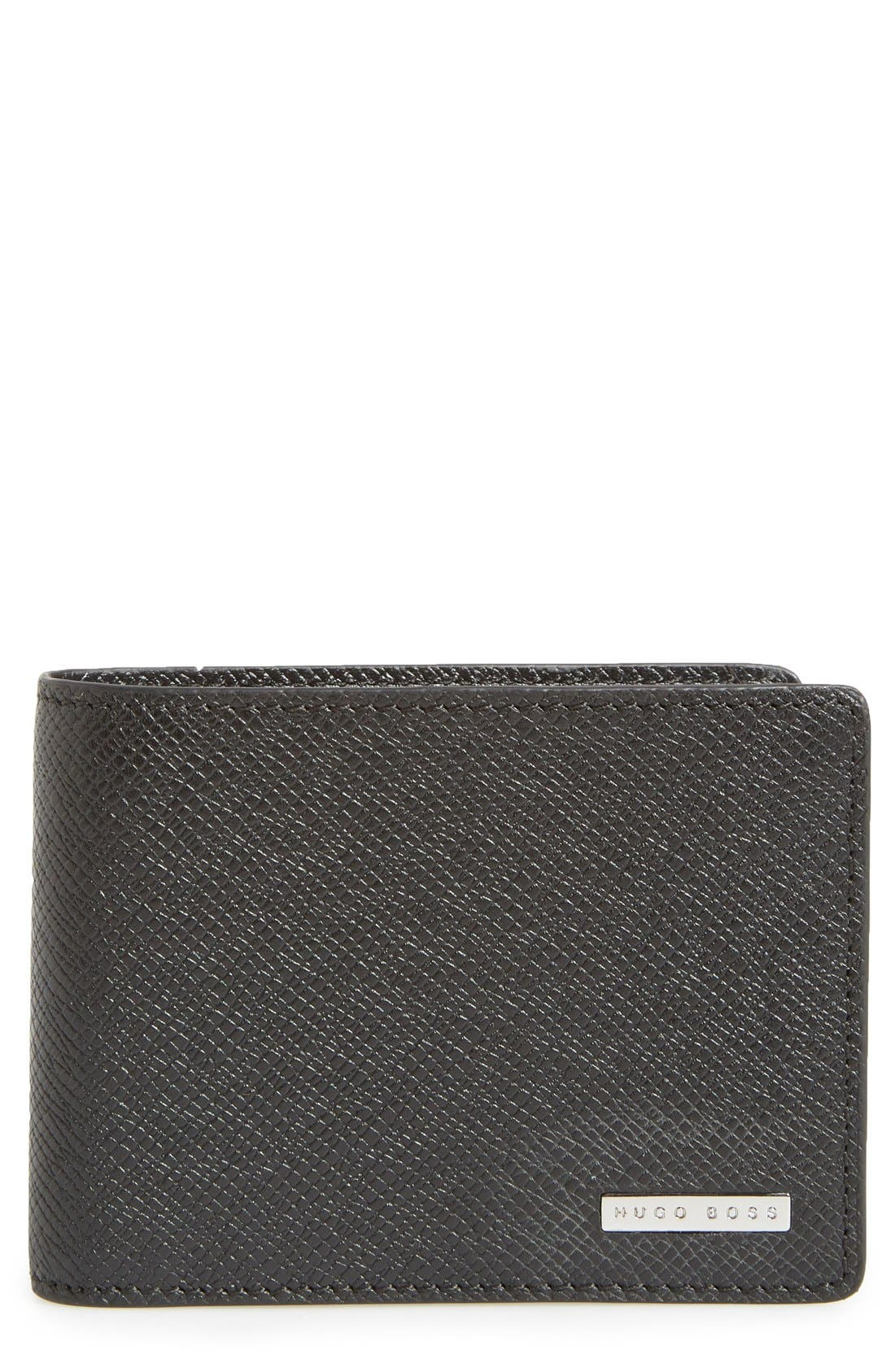 BOSS, 'Signature' Bifold Calfskin Leather Wallet, Main thumbnail 1, color, BLACK