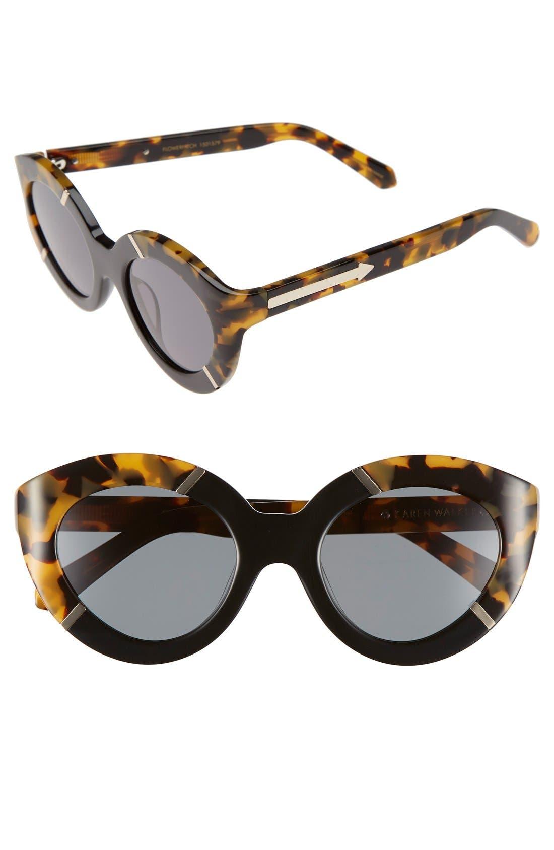 KAREN WALKER, 'Flowerpatch - Arrowed by Karen' 48mm Cat Eye Sunglasses, Main thumbnail 1, color, 200