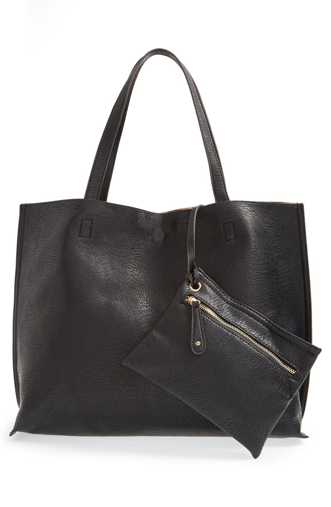 STREET LEVEL, Reversible Faux Leather Tote, Alternate thumbnail 2, color, 004