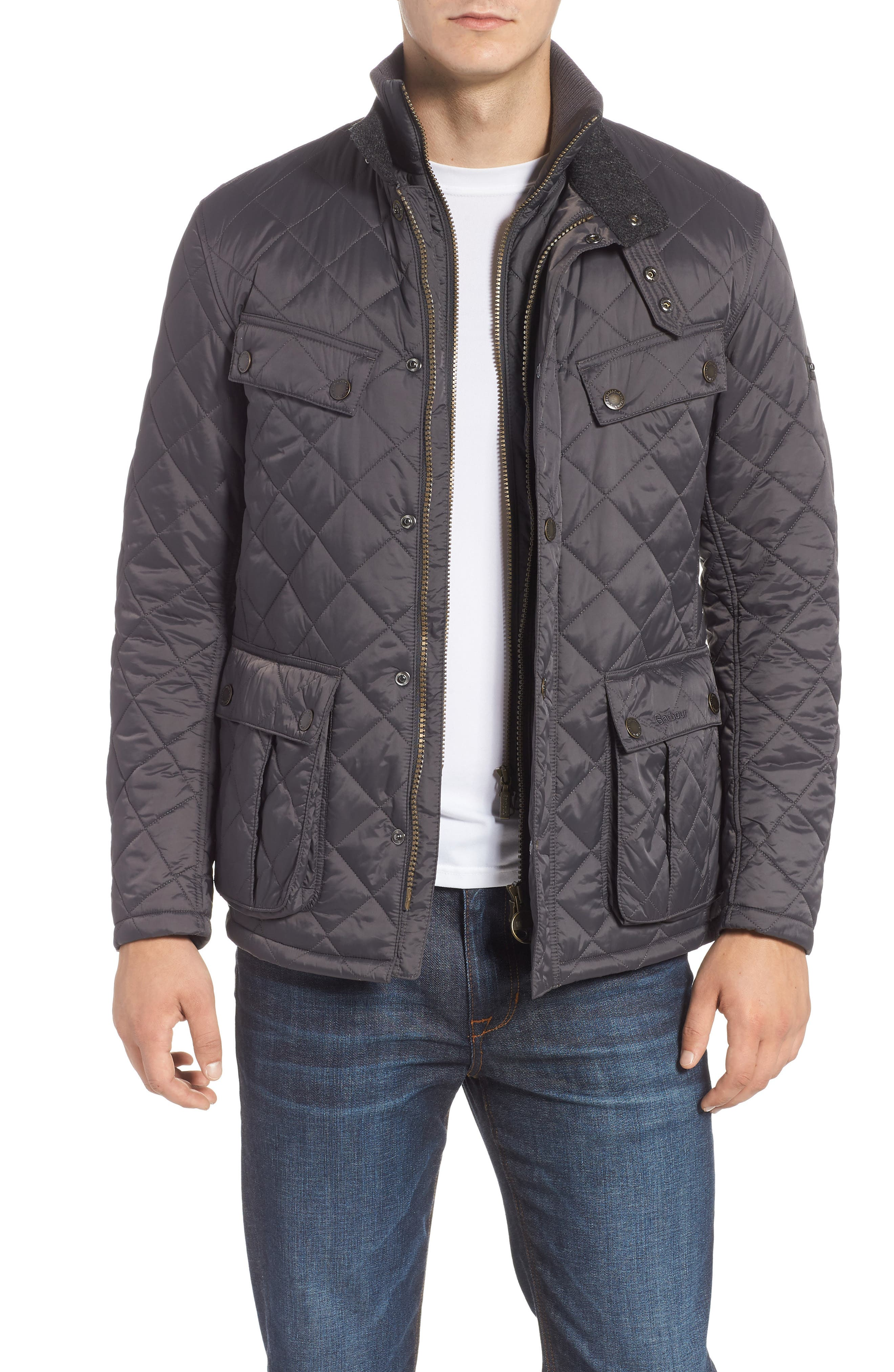 BARBOUR, International Windshield Quilted Jacket, Main thumbnail 1, color, CHARCOAL