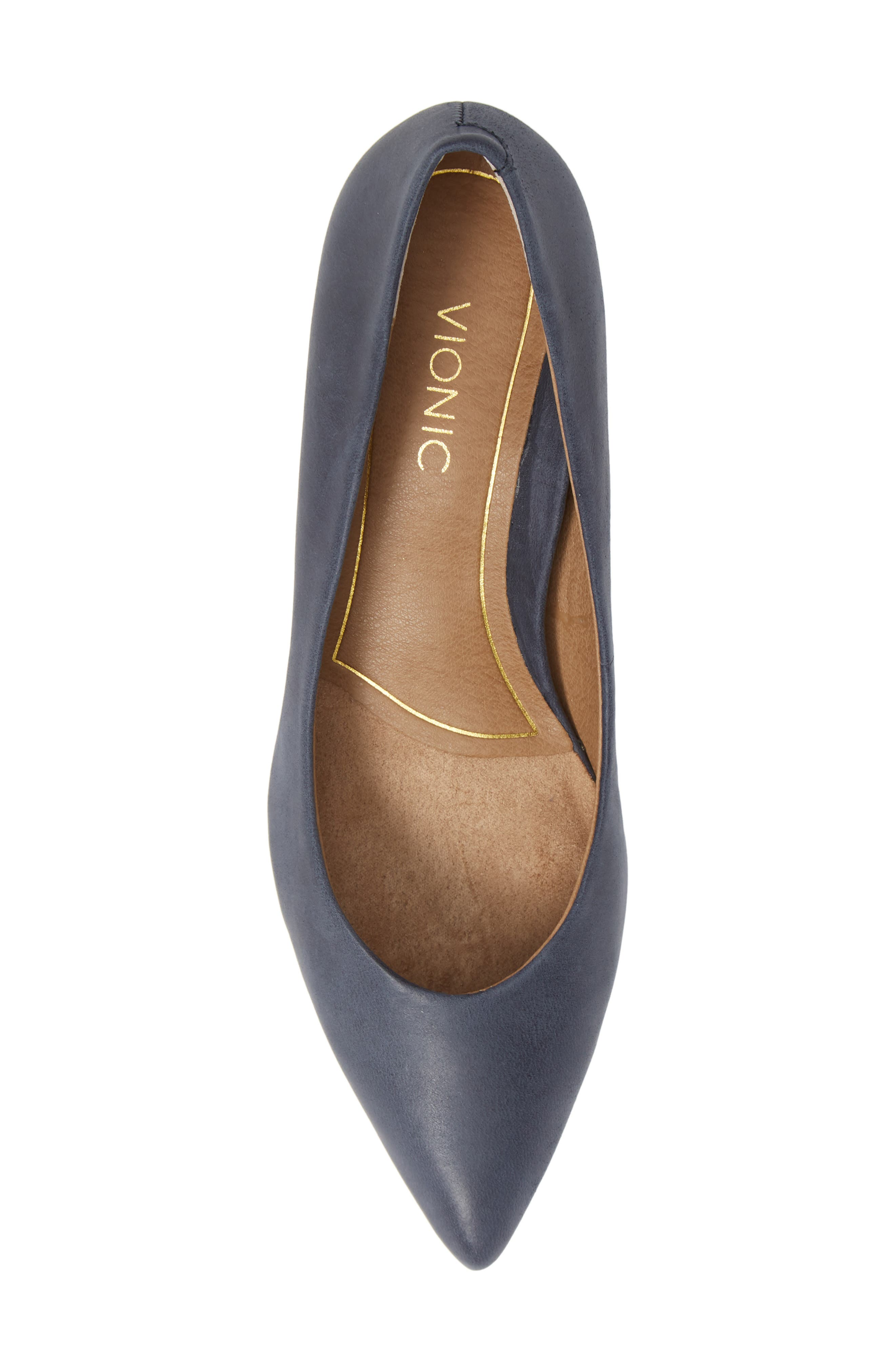 VIONIC, Josie Kitten Heel Pump, Alternate thumbnail 5, color, NAVY LEATHER
