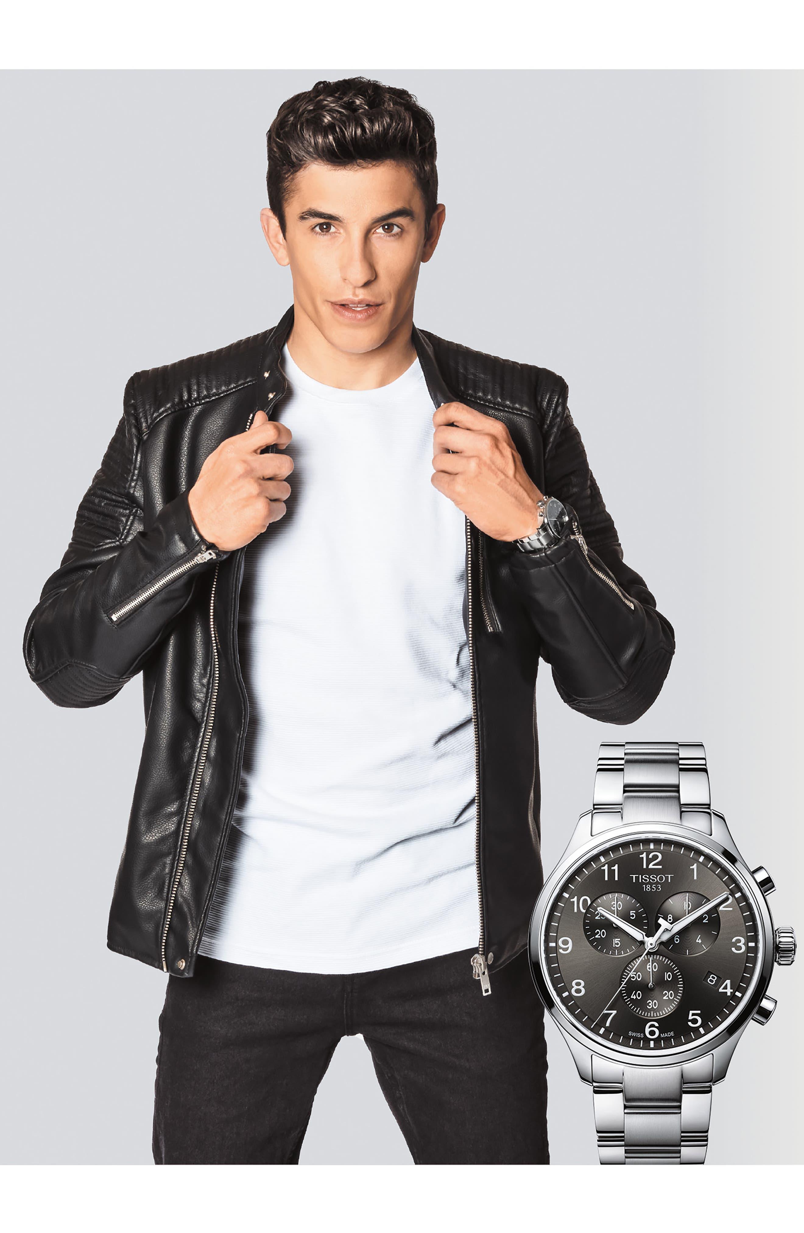 TISSOT, Chrono XL Collection Chronograph Bracelet Watch, 45mm, Alternate thumbnail 3, color, SILVER/ BLACK/ SILVER