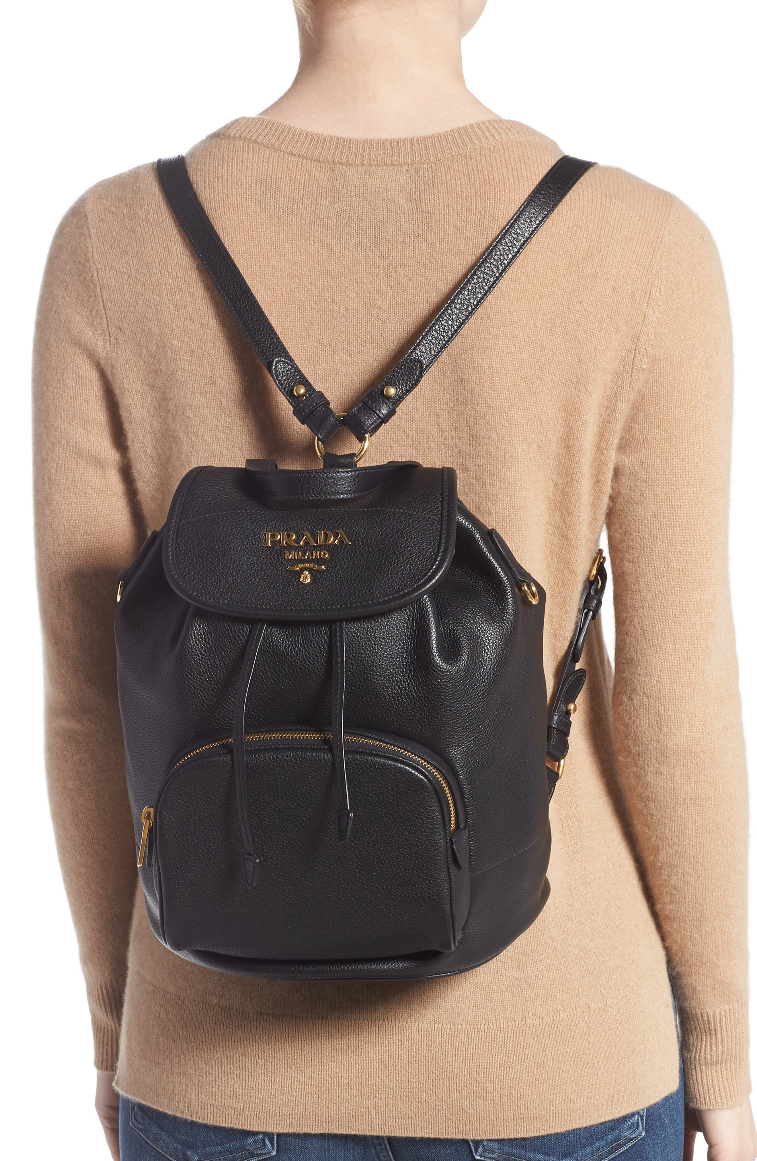 PRADA, Vitello Daino Pebbled Leather Backpack, Alternate thumbnail 3, color, 001