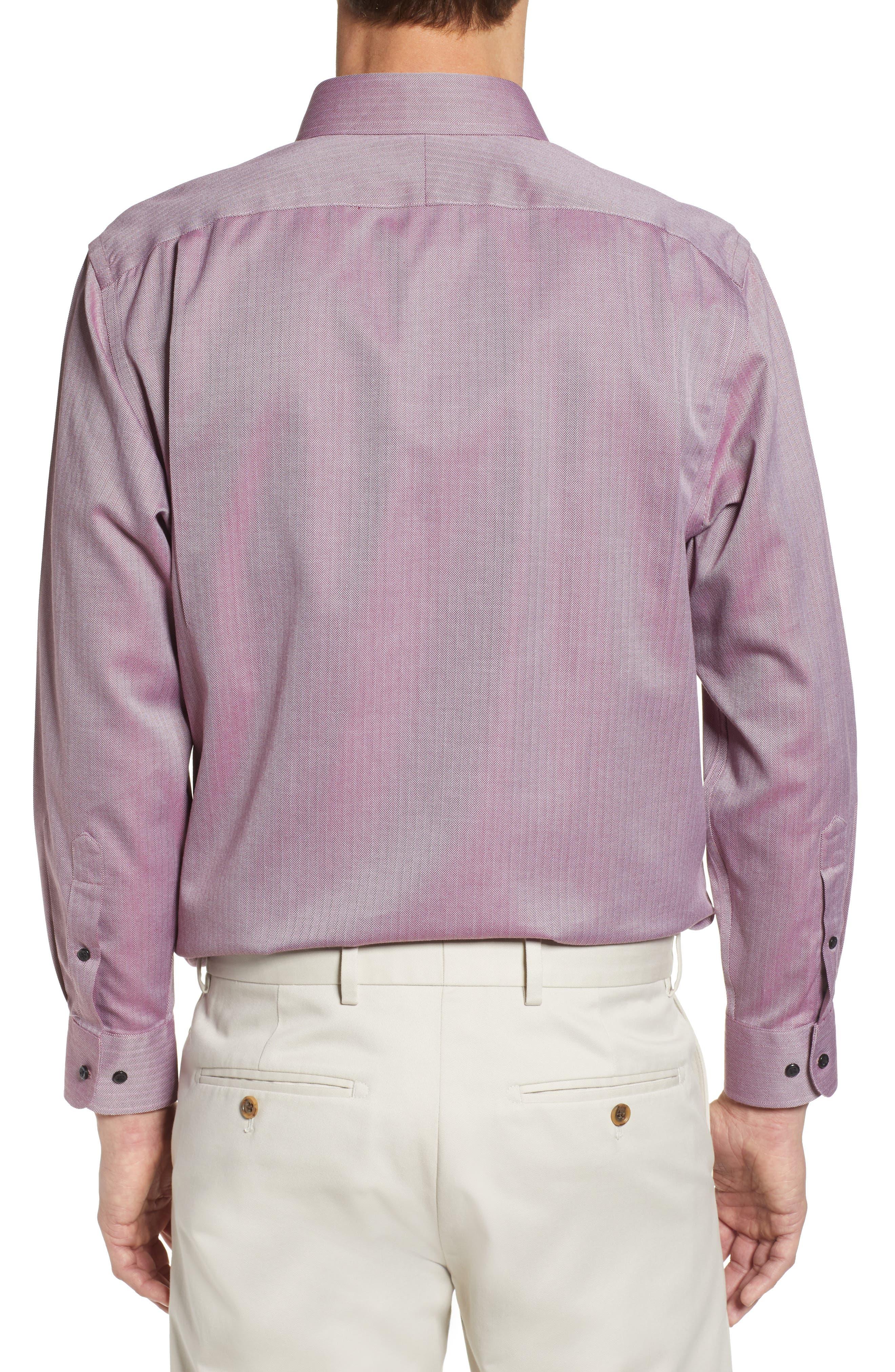 NORDSTROM MEN'S SHOP, Smartcare<sup>™</sup> Traditional Fit Herringbone Dress Shirt, Alternate thumbnail 3, color, BURGUNDY ROYALE