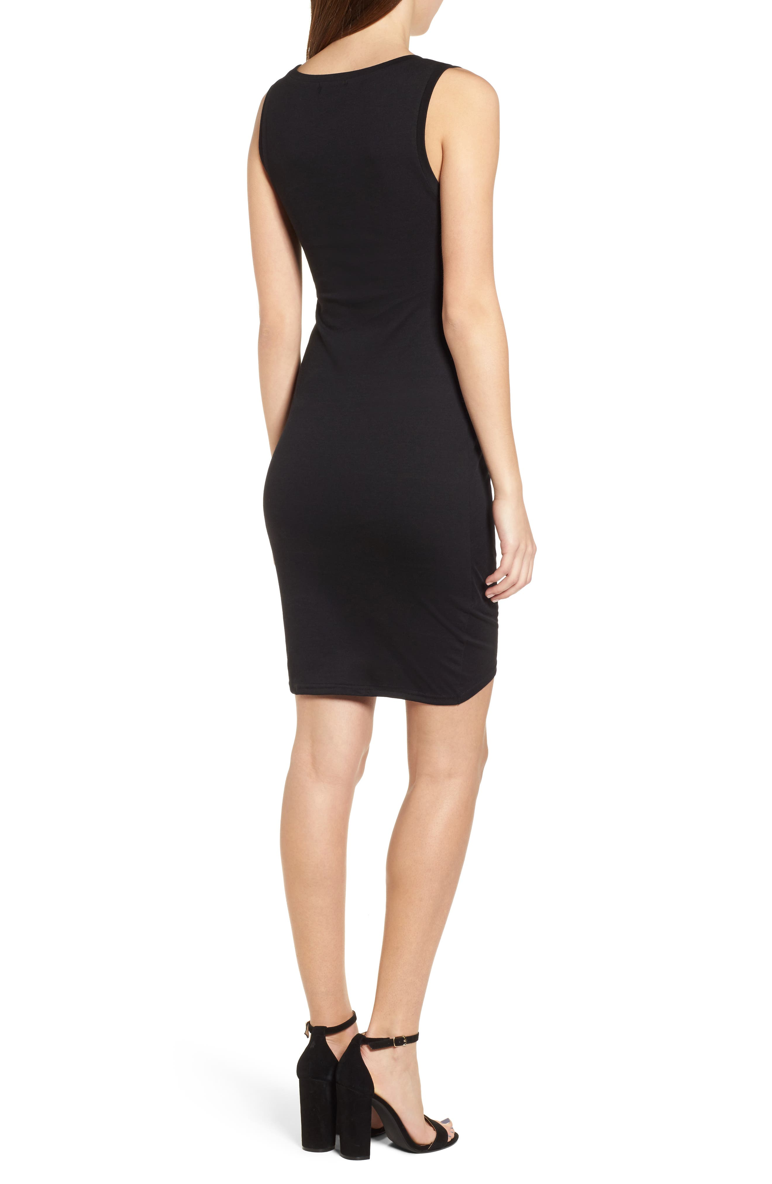 LEITH, Ruched Body-Con Tank Dress, Alternate thumbnail 2, color, BLACK