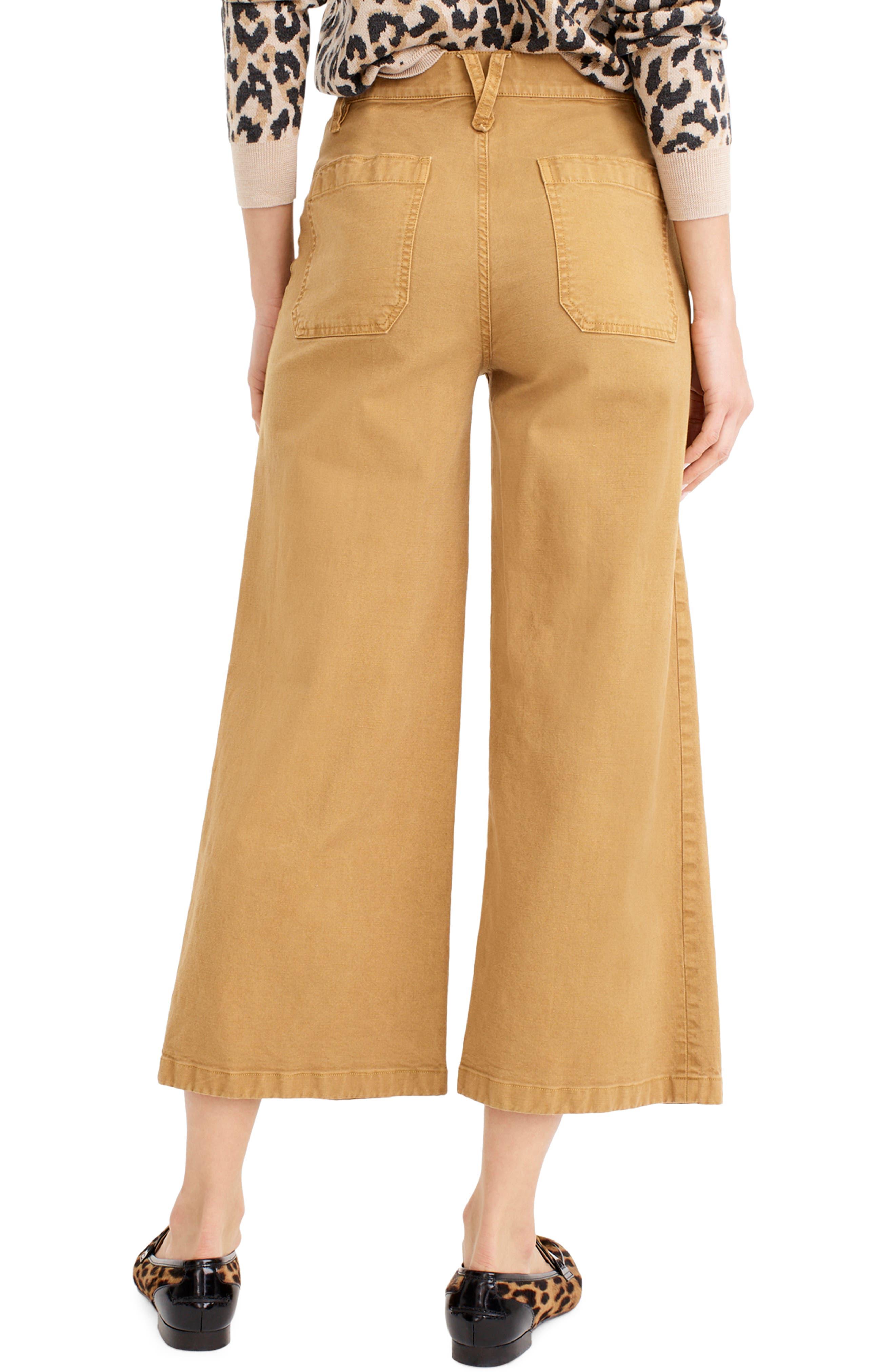 J.CREW, Point Sur Washed Wide Leg Crop Pants, Alternate thumbnail 2, color, CARAMEL