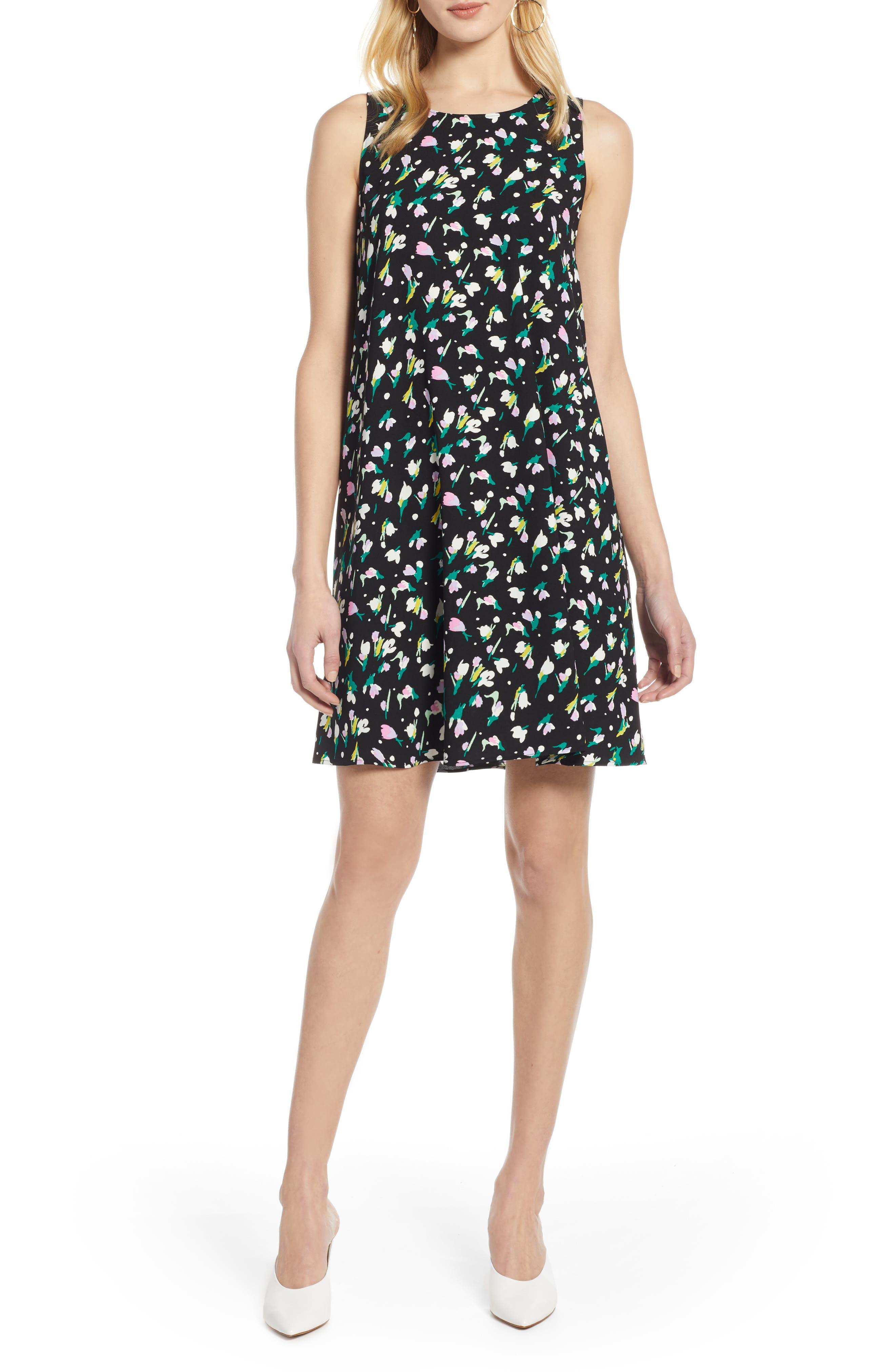 HALOGEN<SUP>®</SUP>, A-Line Dress, Main thumbnail 1, color, BLACK TINY TULIP PRINT