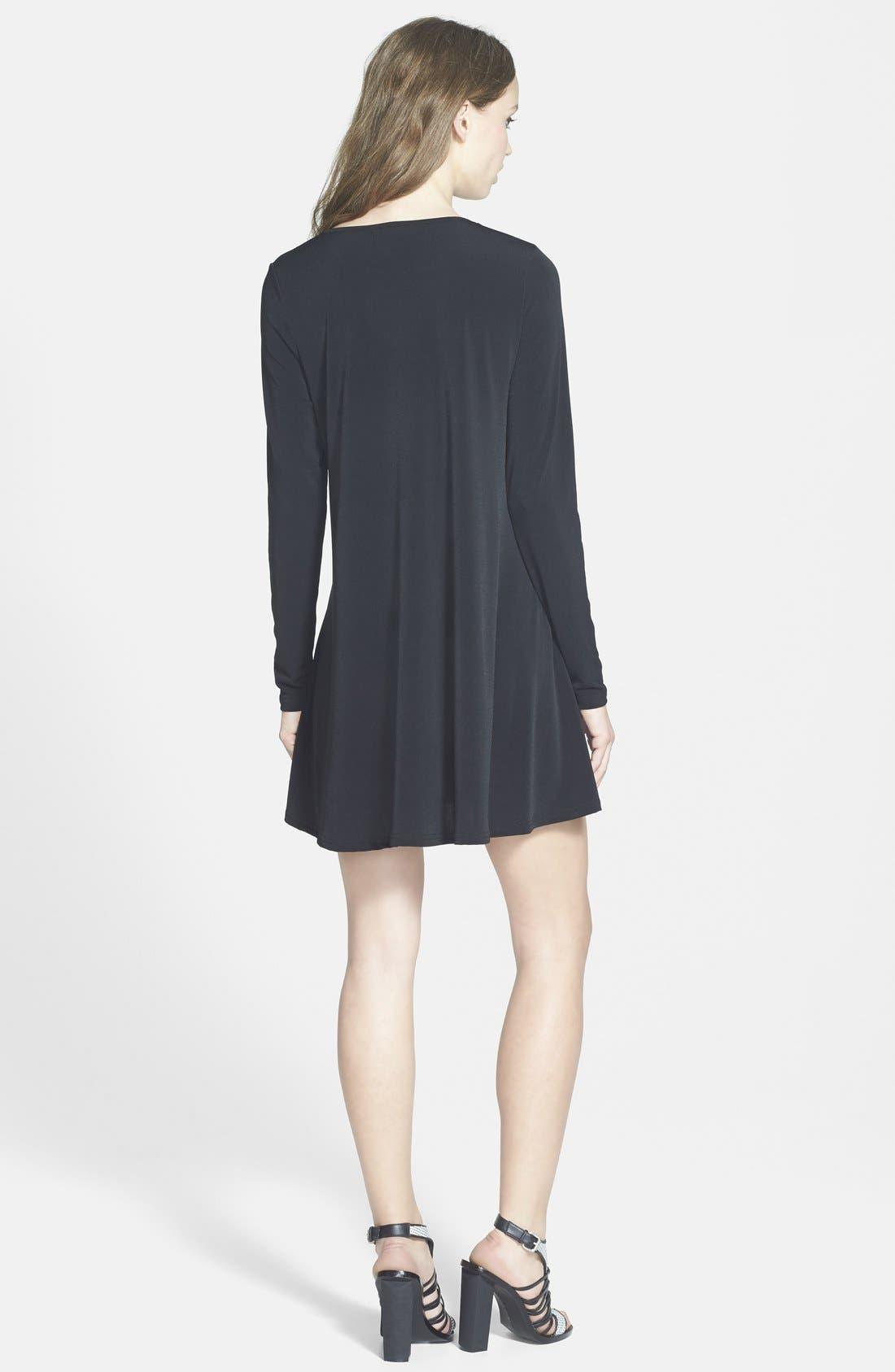 GLAMOROUS, Long Sleeve Shift Dress, Alternate thumbnail 3, color, 001