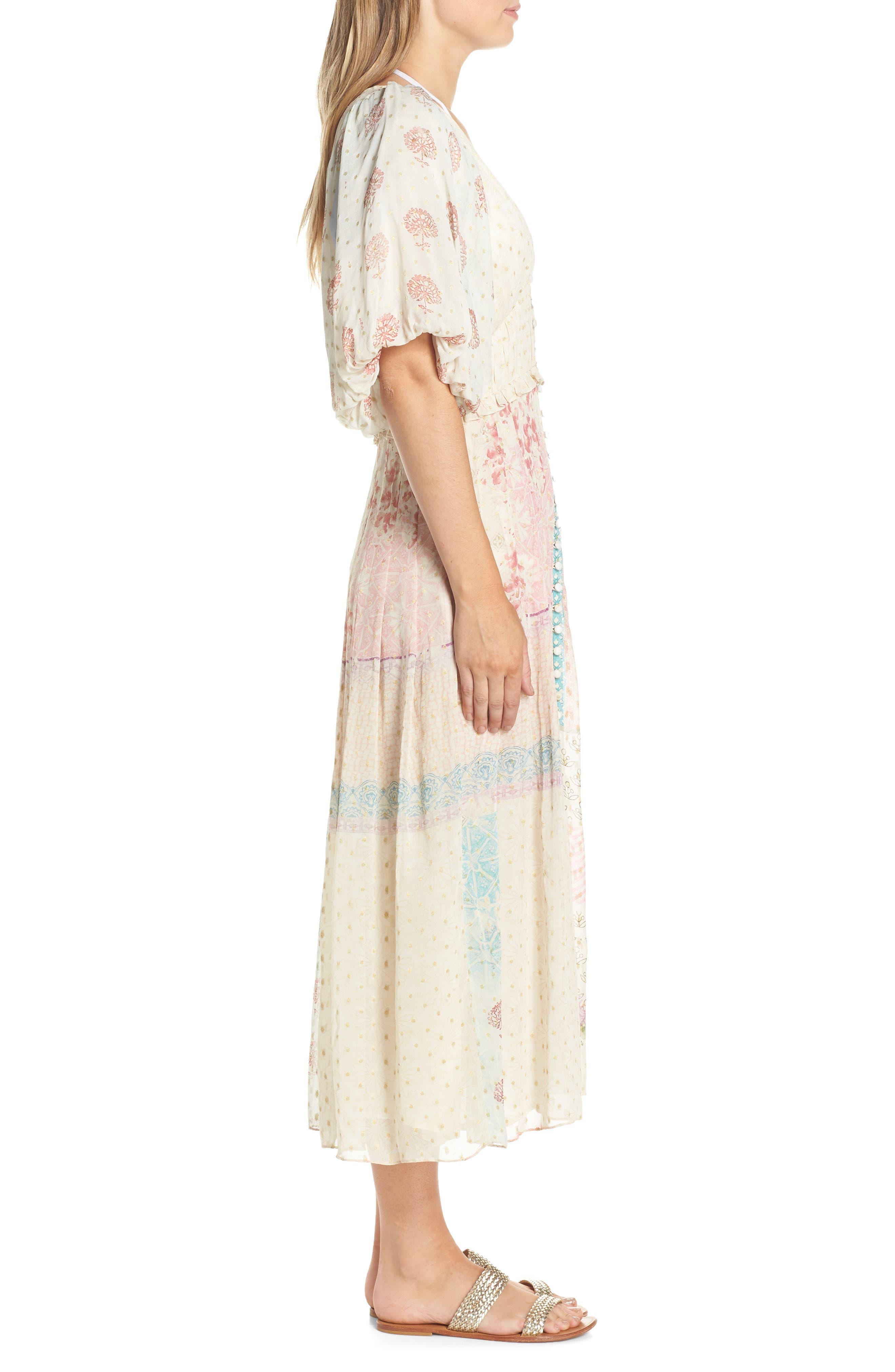 HEMANT & NANDITA, Cover-Up Maxi Dress, Alternate thumbnail 3, color, PASTEL