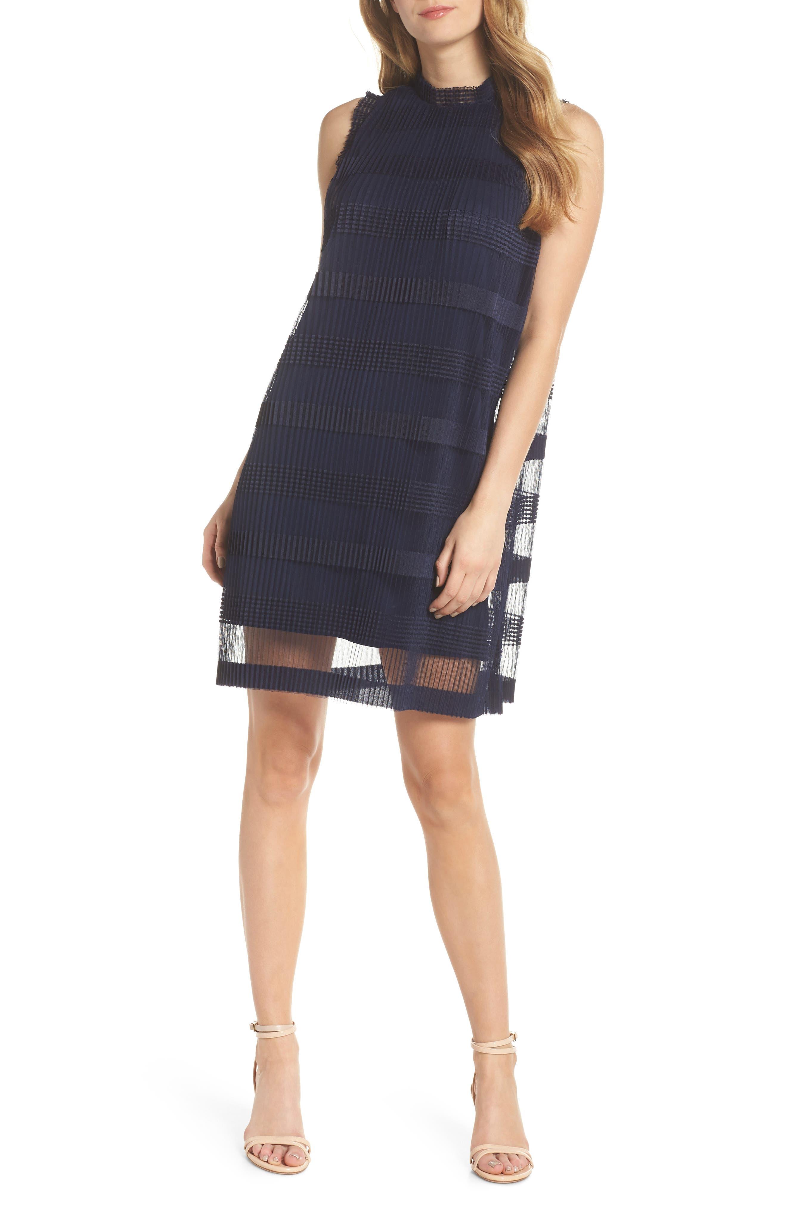 JULIA JORDAN, Stripe Pleated Chiffon Shift Dress, Main thumbnail 1, color, NAVY