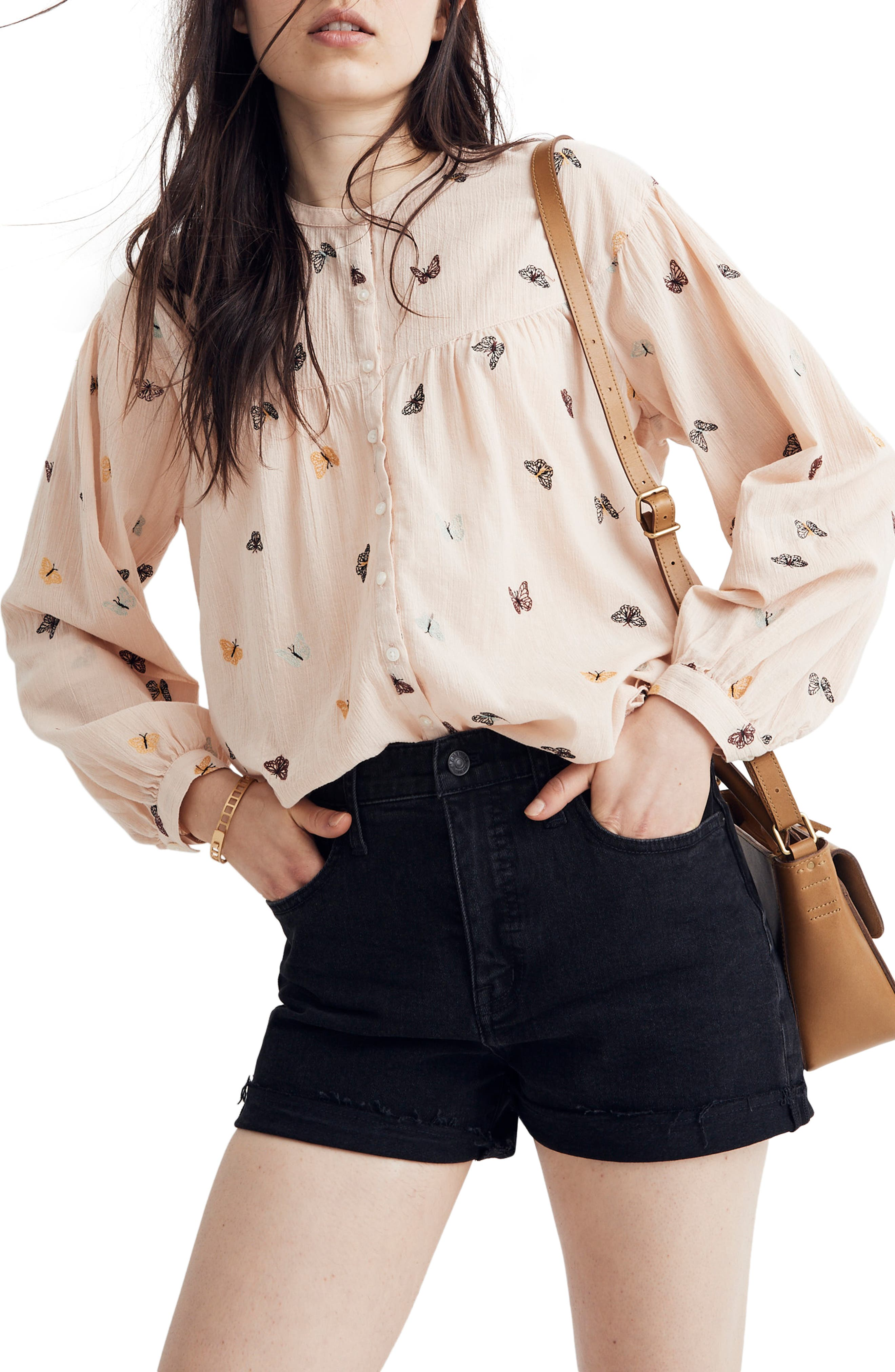 MADEWELL, Butterfly Breeze Balloon Sleeve Peasant Top, Main thumbnail 1, color, FLUTTERBY PALE PARCHMENT