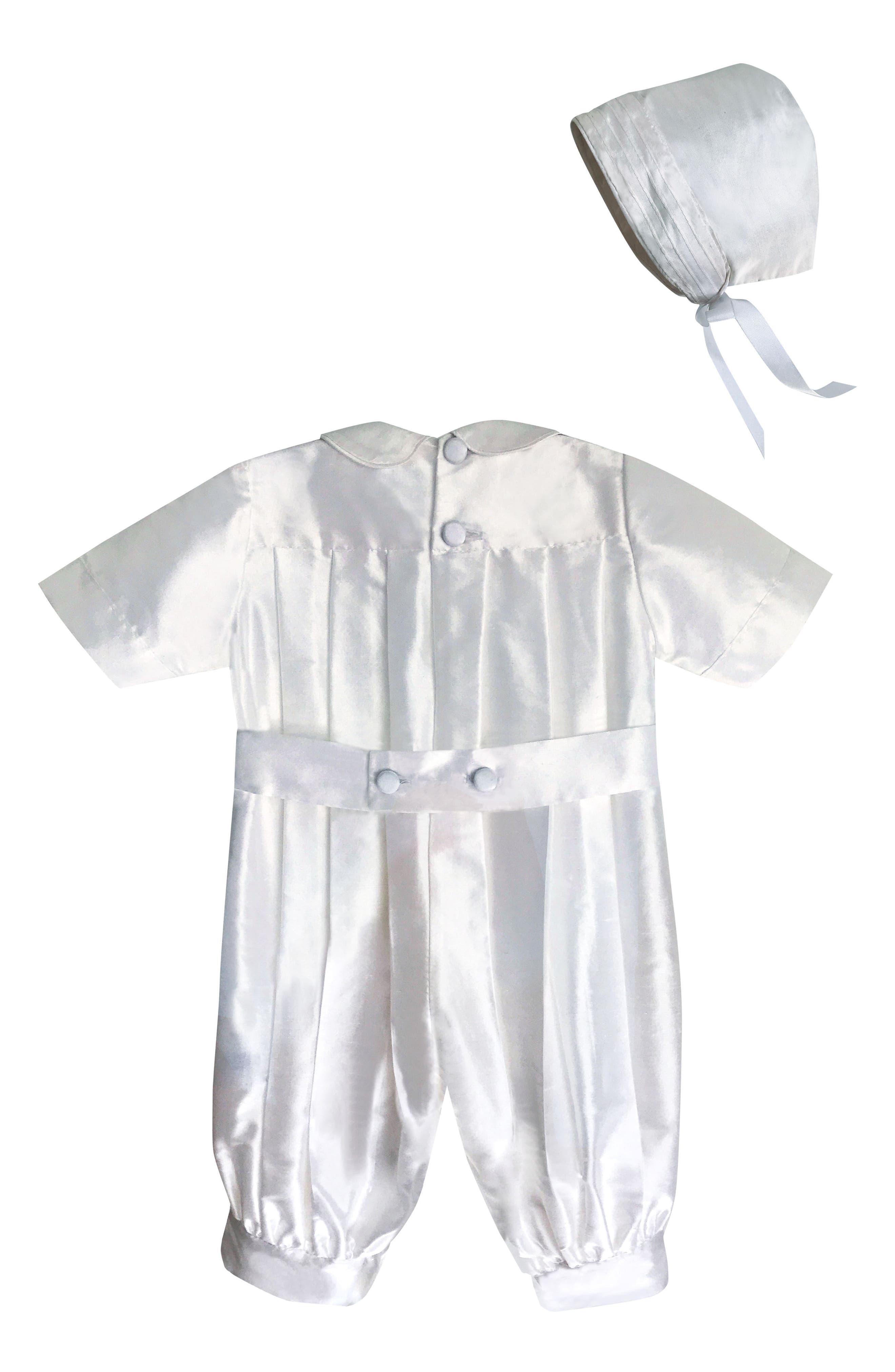 ISABEL GARRETON, Tucked Silk Romper & Bonnet, Alternate thumbnail 2, color, WHITE