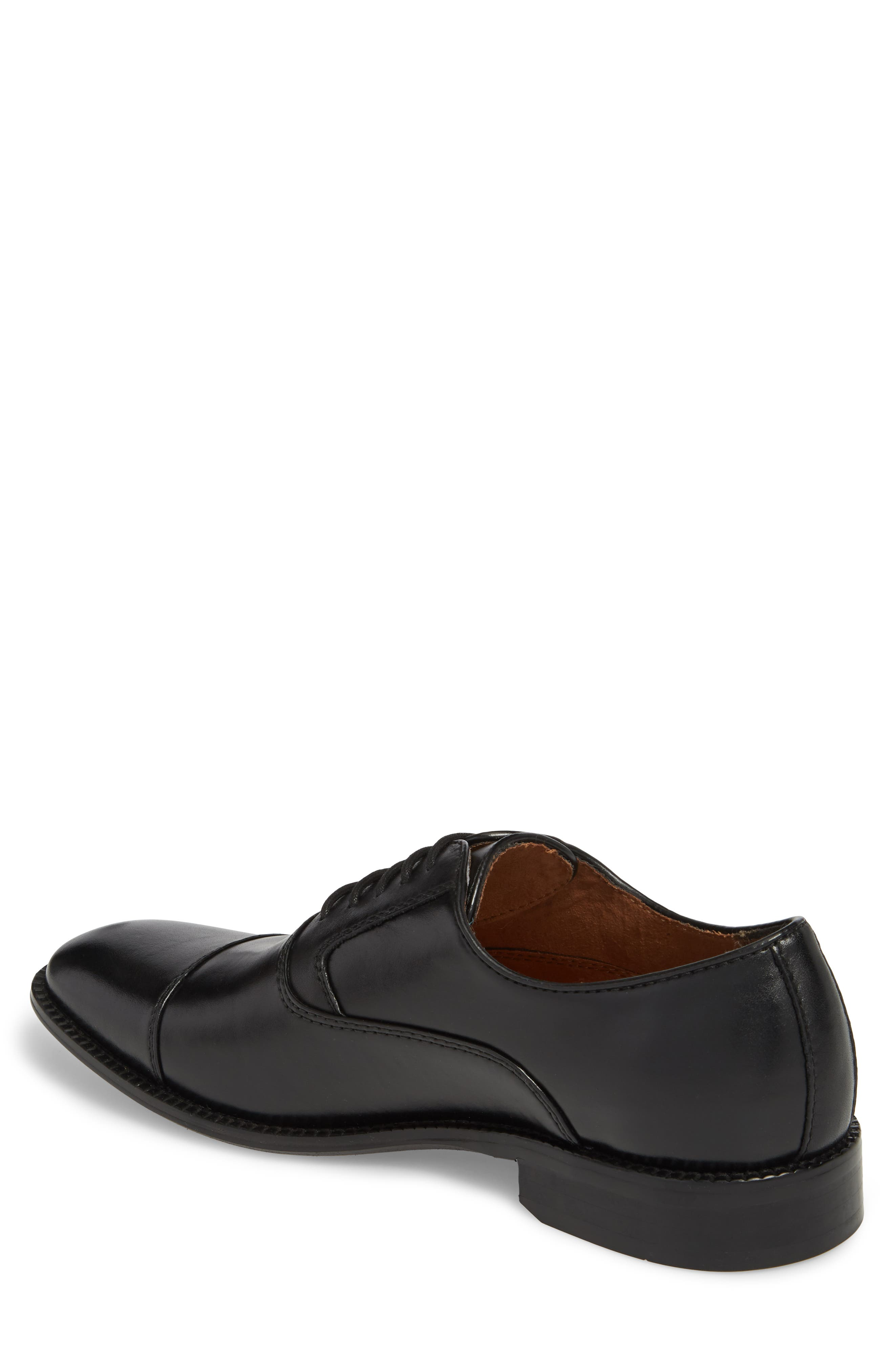 KENNETH COLE NEW YORK, Dice Cap Toe Oxford, Alternate thumbnail 2, color, BLACK LEATHER