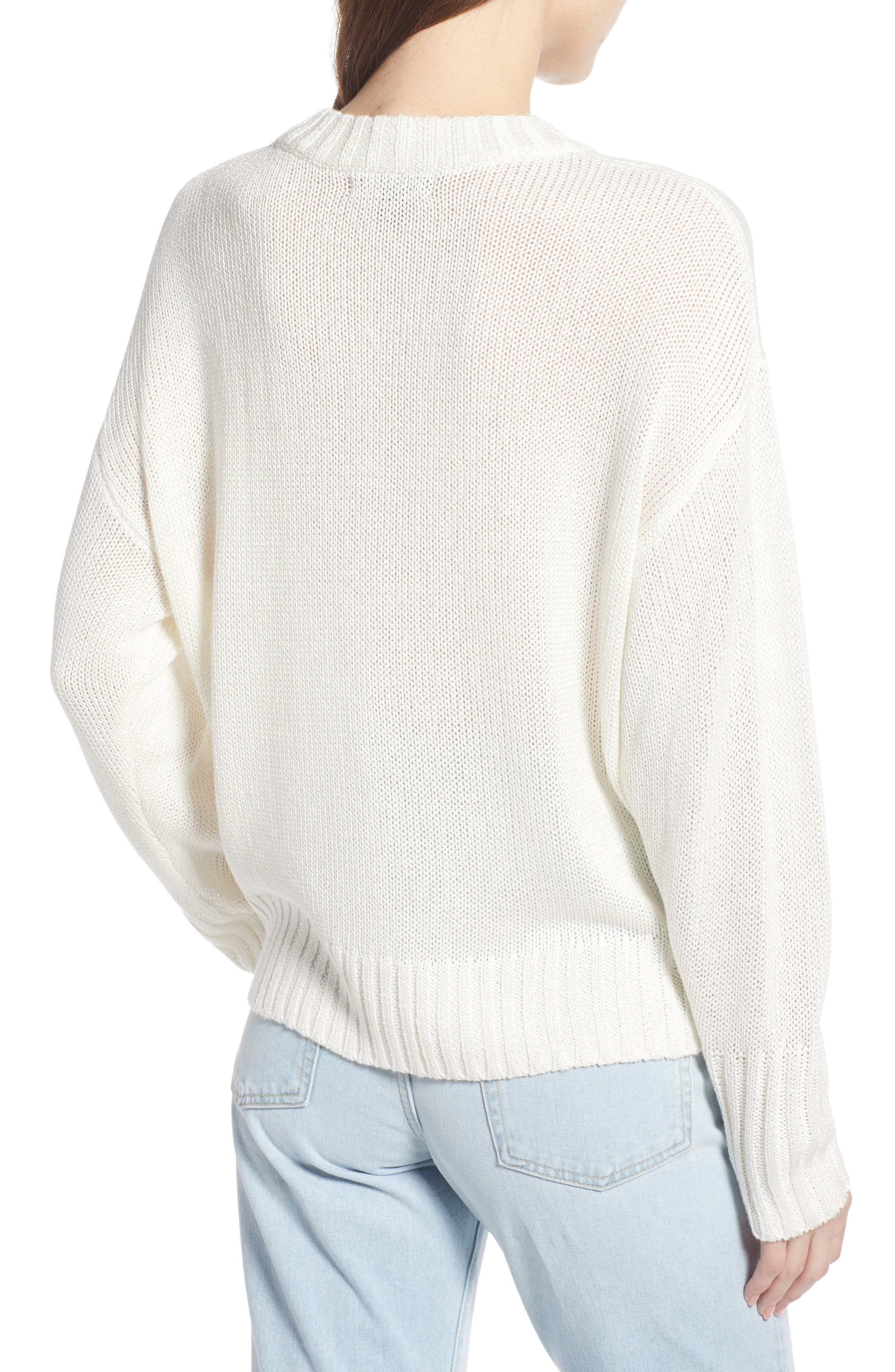 SOMETHING NAVY, Subtle Sheen Sweater, Alternate thumbnail 4, color, 100
