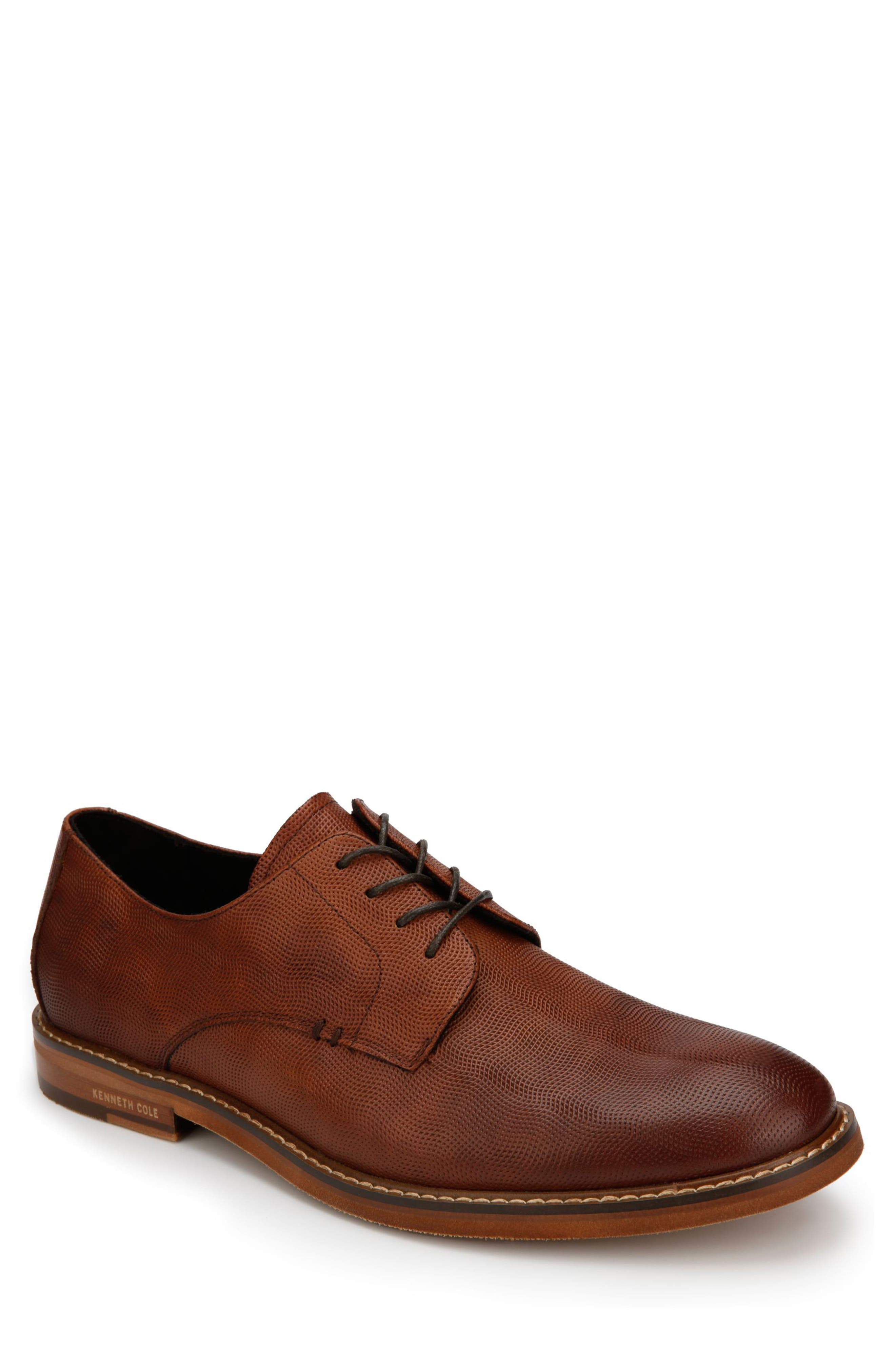 KENNETH COLE NEW YORK, Dance Textured Plain Toe Derby, Main thumbnail 1, color, COGNAC EMBOSSED LEATHER
