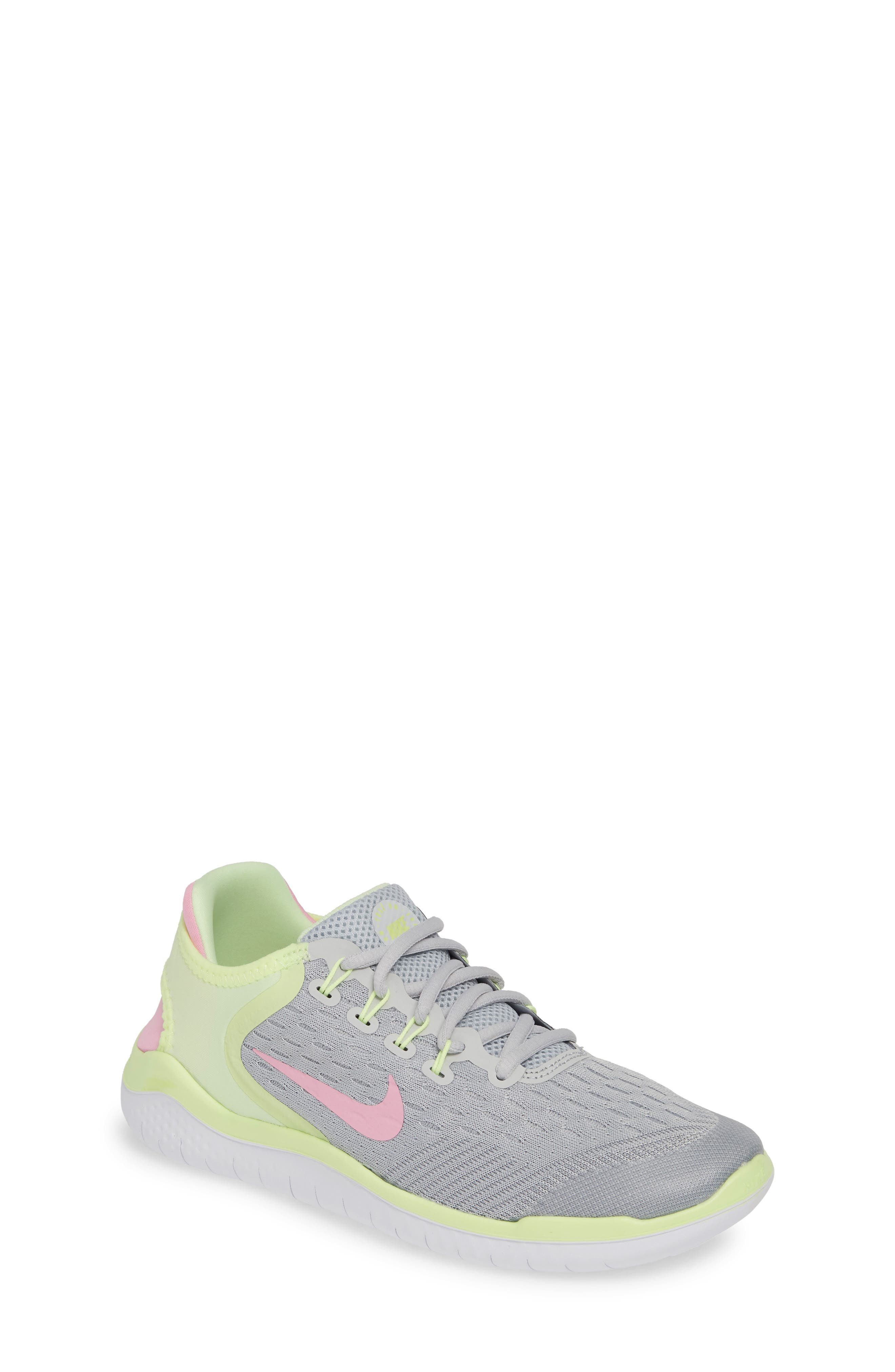 NIKE, Free RN 2018 Running Shoe, Main thumbnail 1, color, PURE PLATINUM/ PINK RISE-VOLT