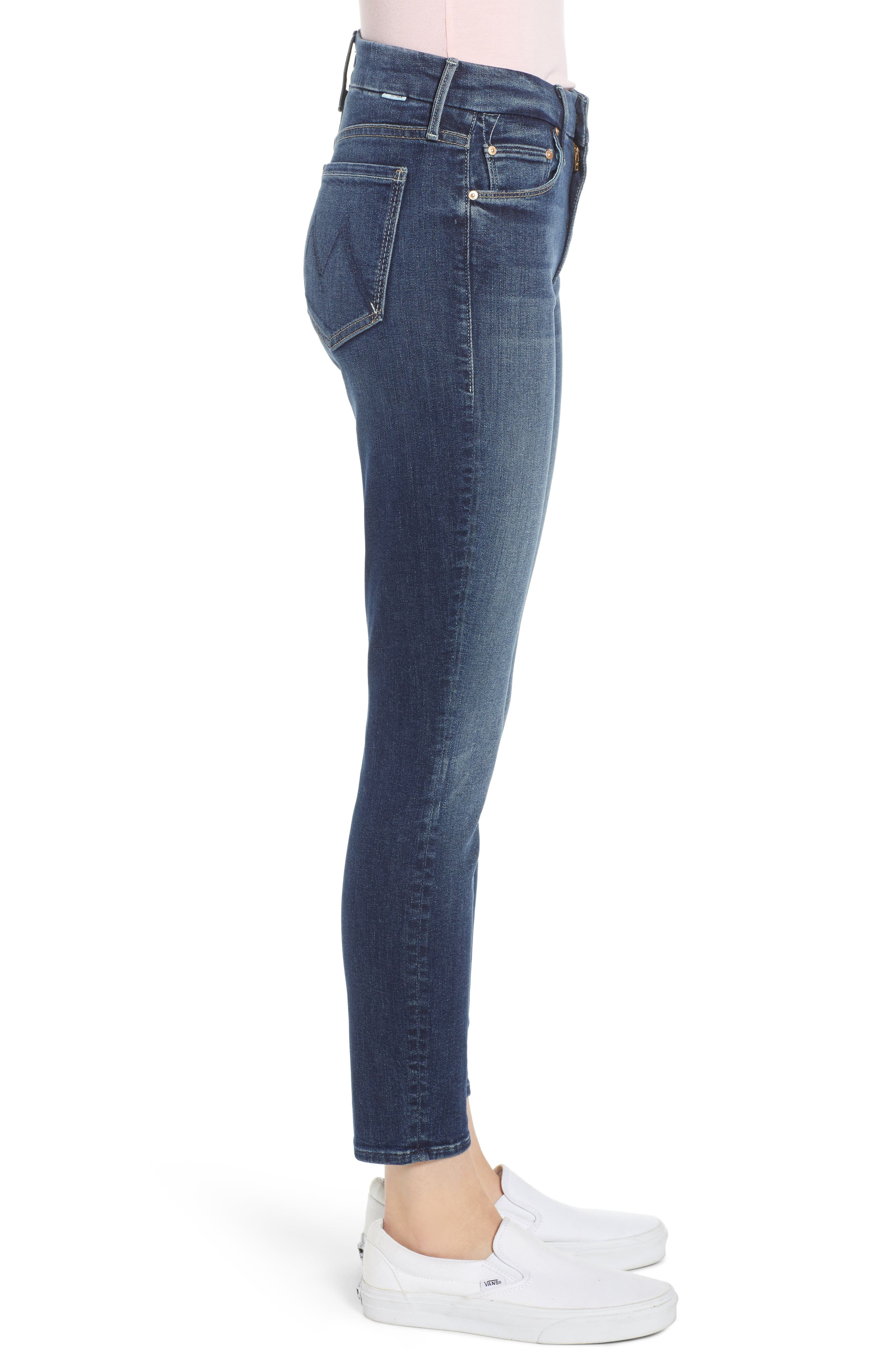 MOTHER, 'The Looker' Crop Skinny Jeans, Alternate thumbnail 4, color, ON THE EDGE